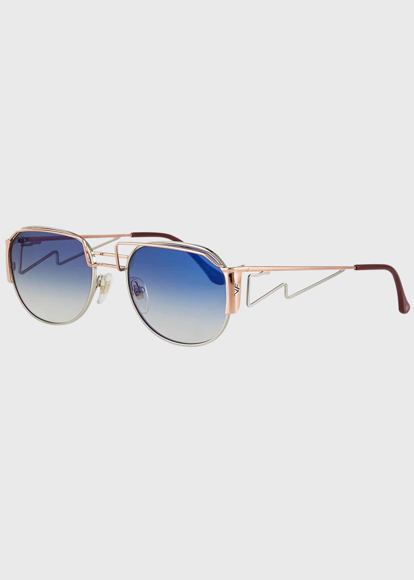 Image 1 of 3: Men's Gradient Geometric Metal Sunglasses