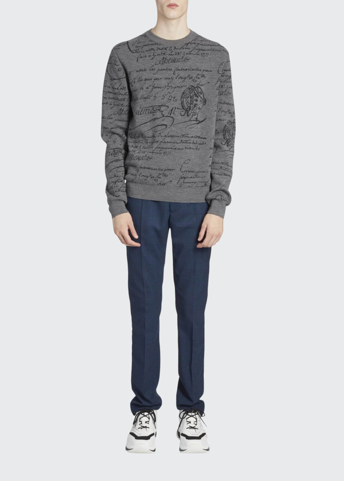 Image 1 of 2: Men's Scritto Crewneck Wool Sweatshirt