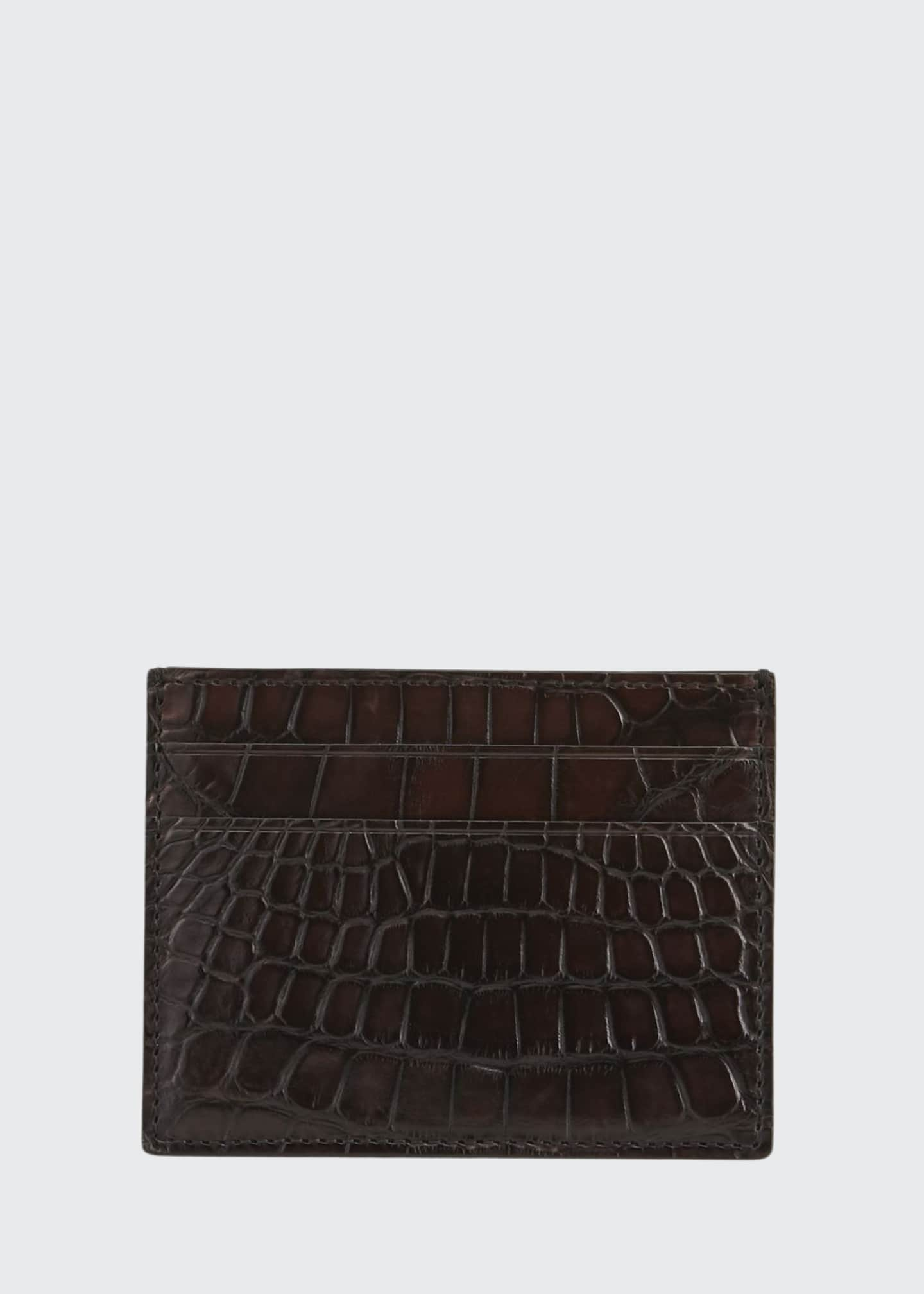 Image 1 of 2: Men's Simple Alligator Card Case