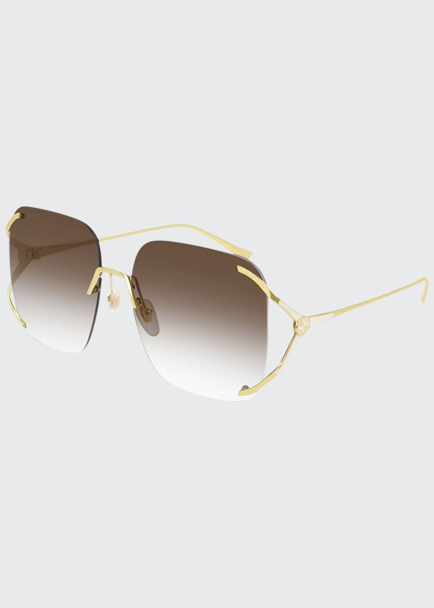 Image 1 of 1: Rimless Square Metal Sunglasses