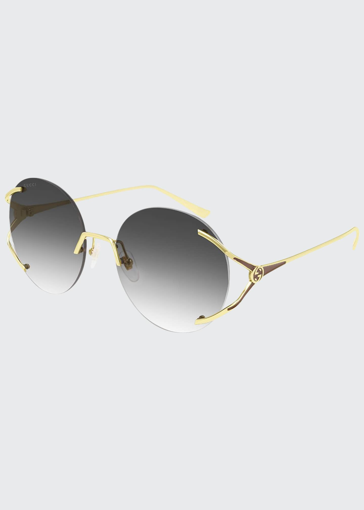 Image 1 of 1: Rimless Round Metal Sunglasses