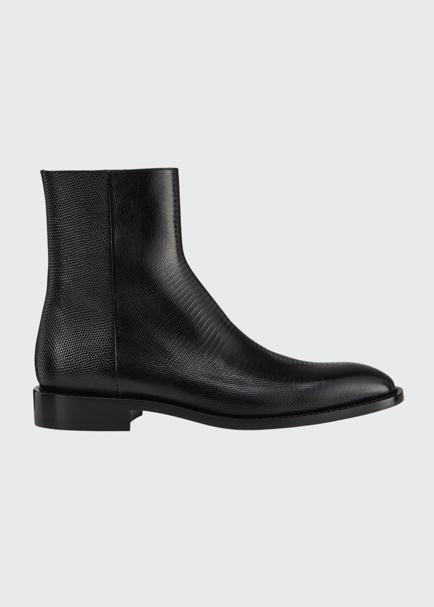 Image 1 of 4: Men's Chrystal Textured Leather Booties