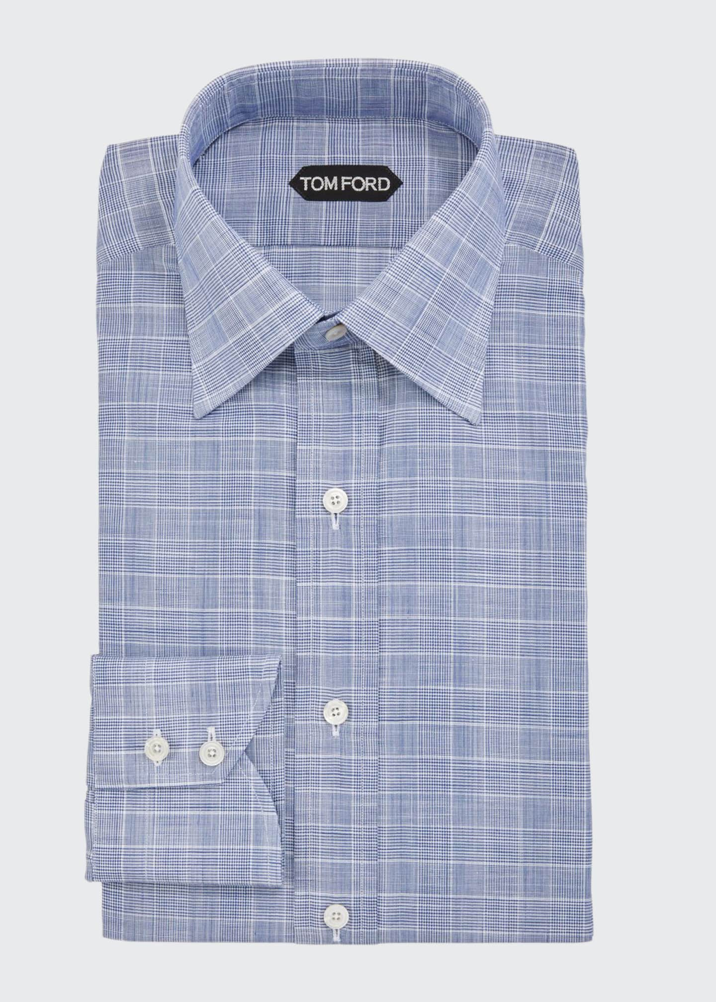 Image 1 of 2: Men's Sophisticated Prince of Wales Dress Shirt