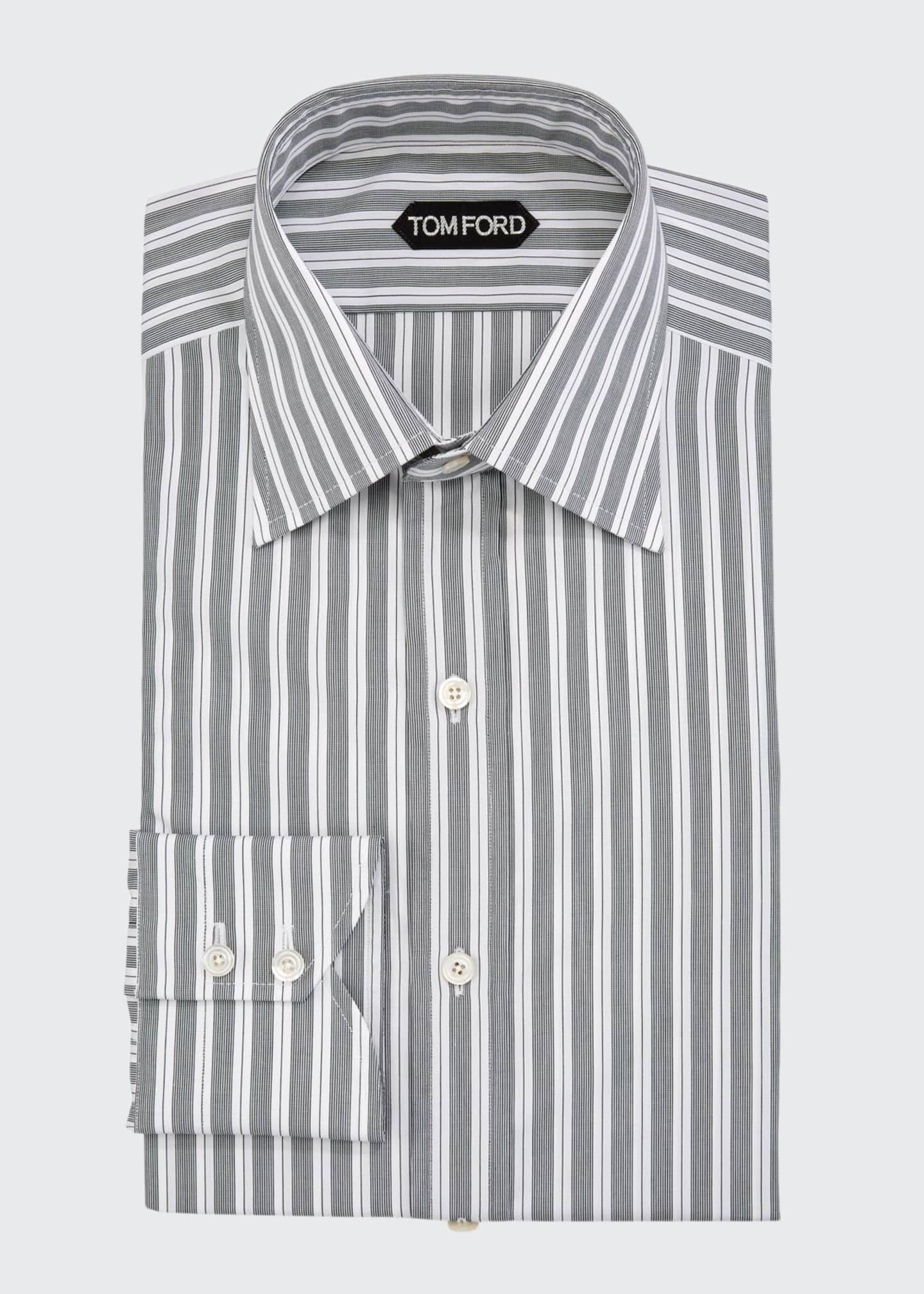 Image 1 of 2: Men's Irregular Stripe Dress Shirt