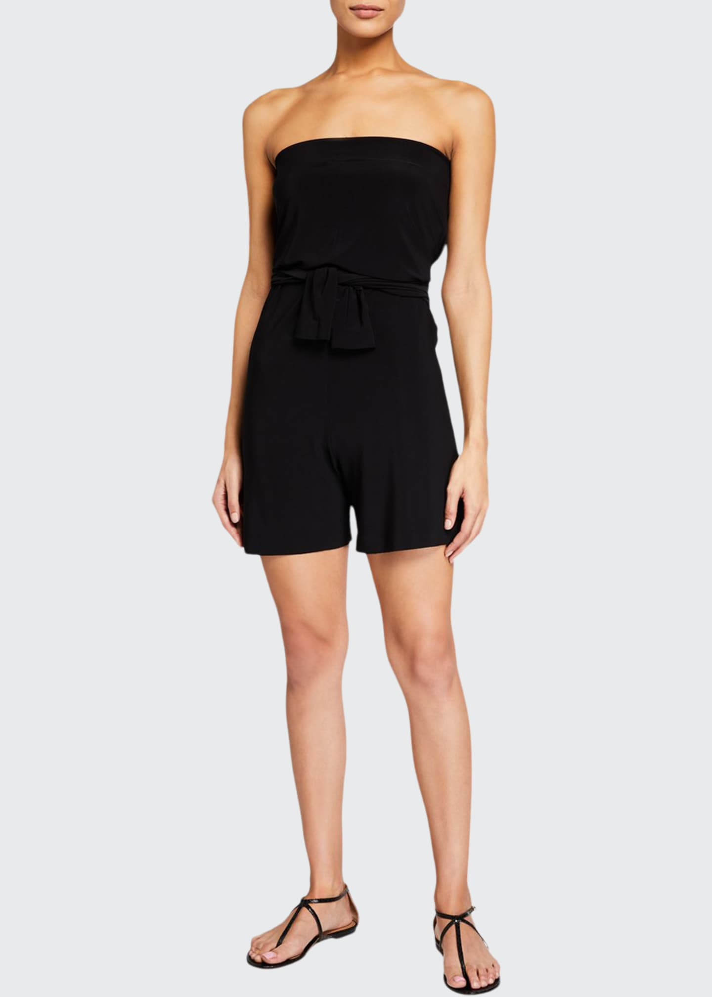 Image 1 of 4: Tie-Front All-In-One Strapless Romper Jumpshort