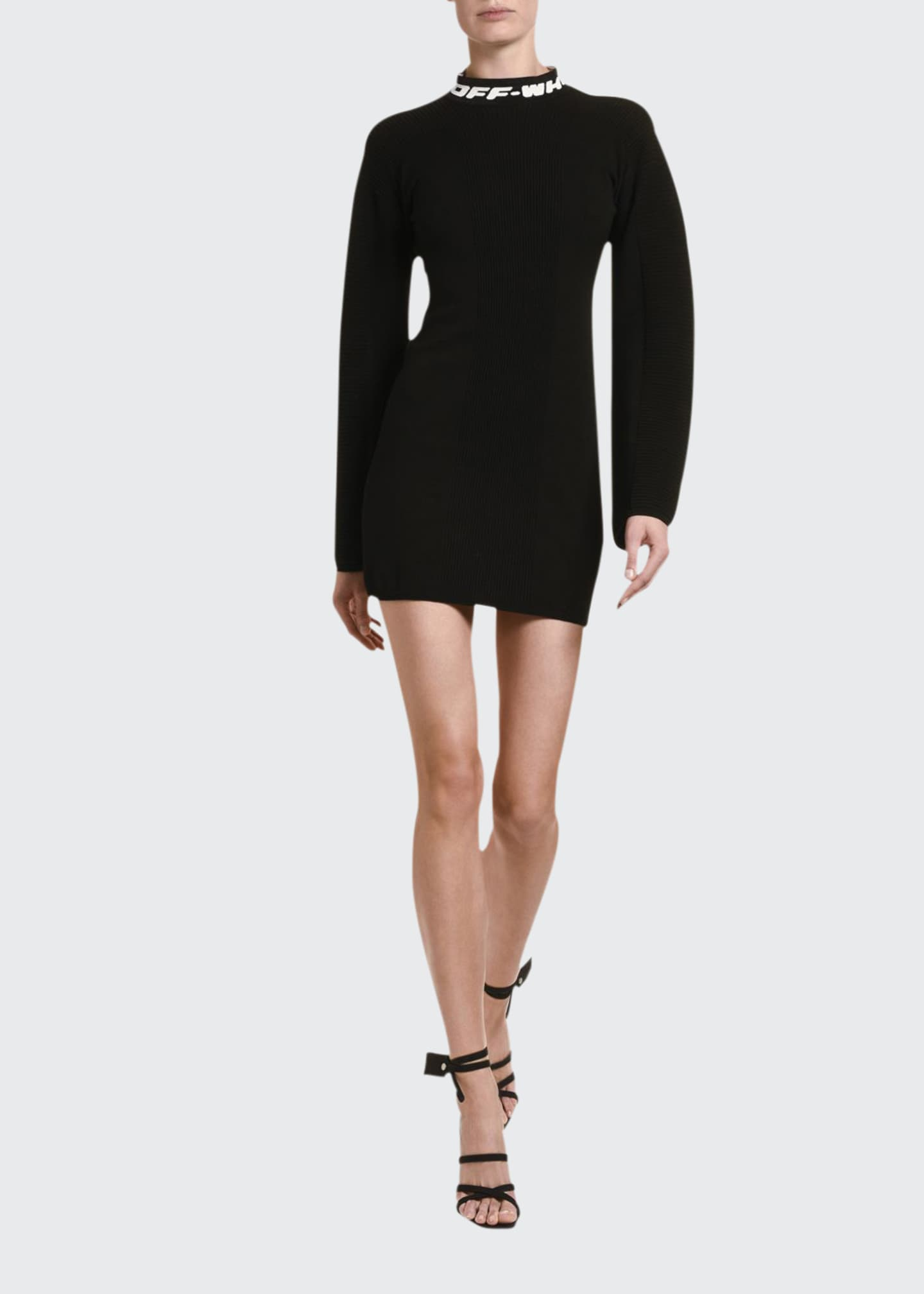 Image 1 of 2: Jersey Mock-Neck Mini Dress with Open Back