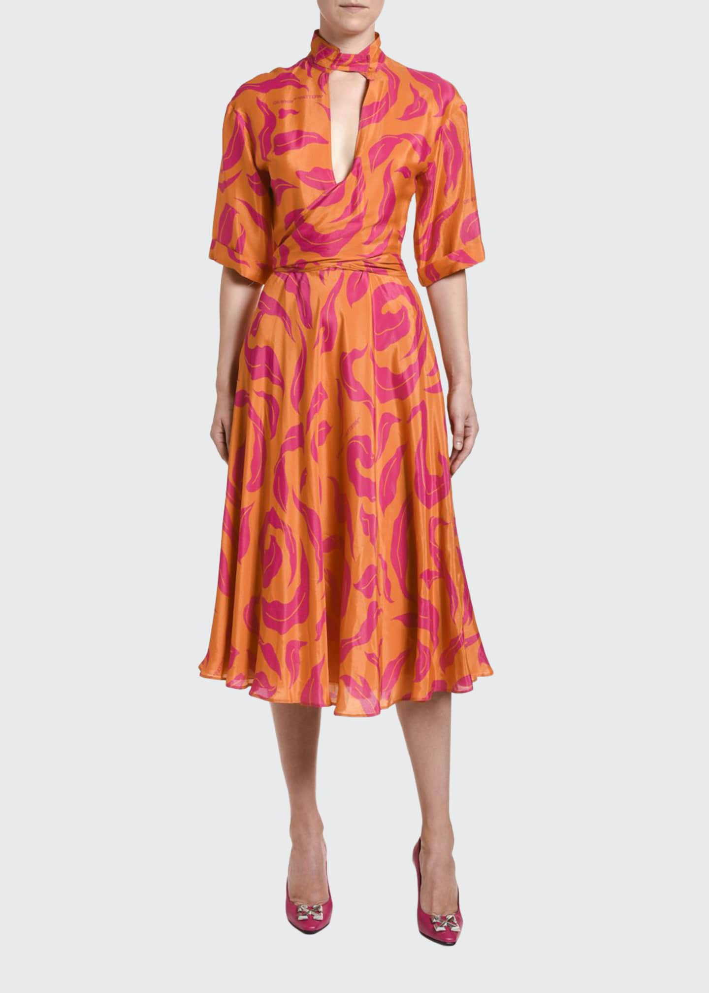 Image 1 of 3: High-Neck Leaves Print Dress