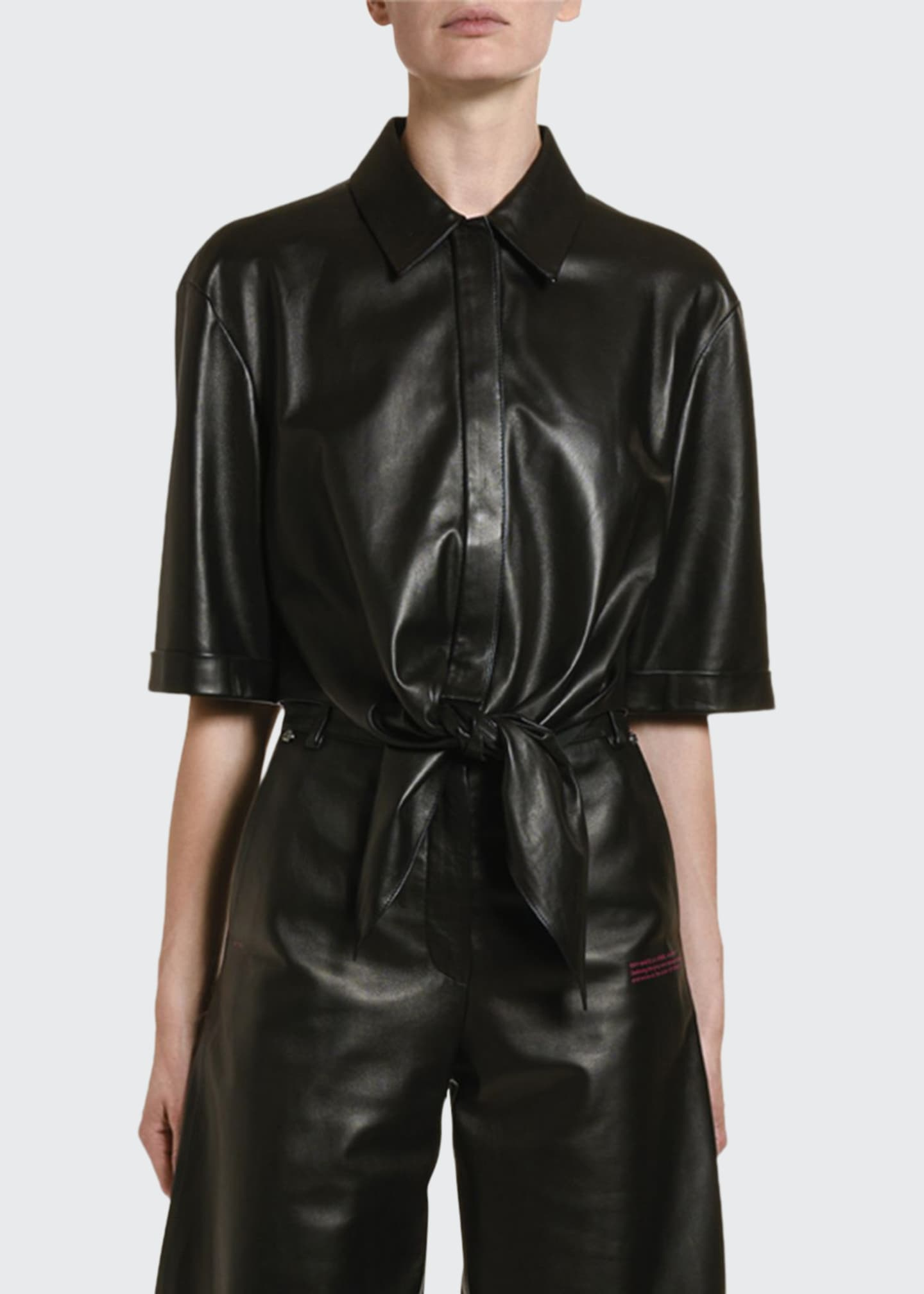 Image 1 of 2: Leather Bowed Baseball Shirt