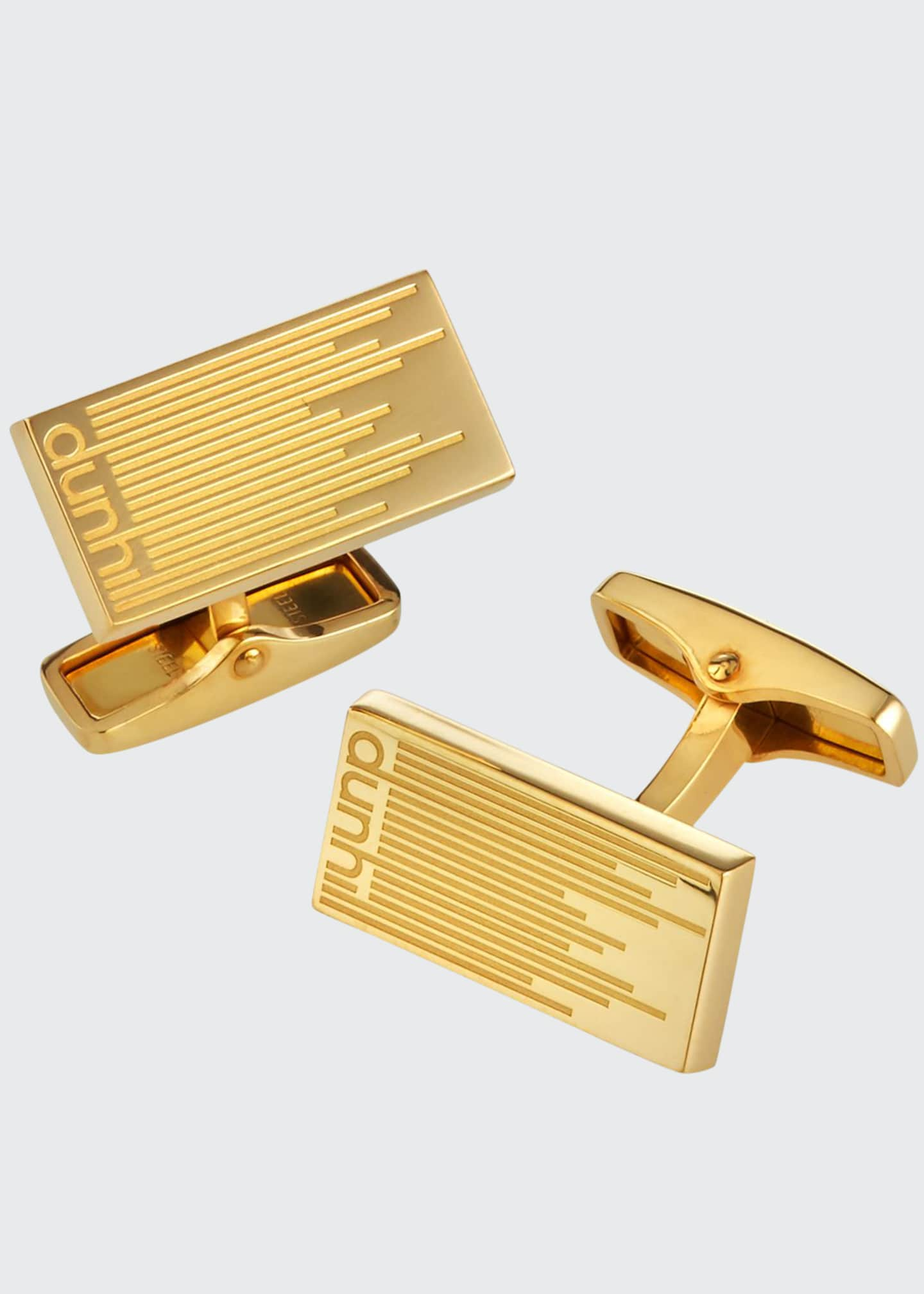Image 1 of 2: Men's Gold-Plated Longtail Stripe Rectangle Cufflinks