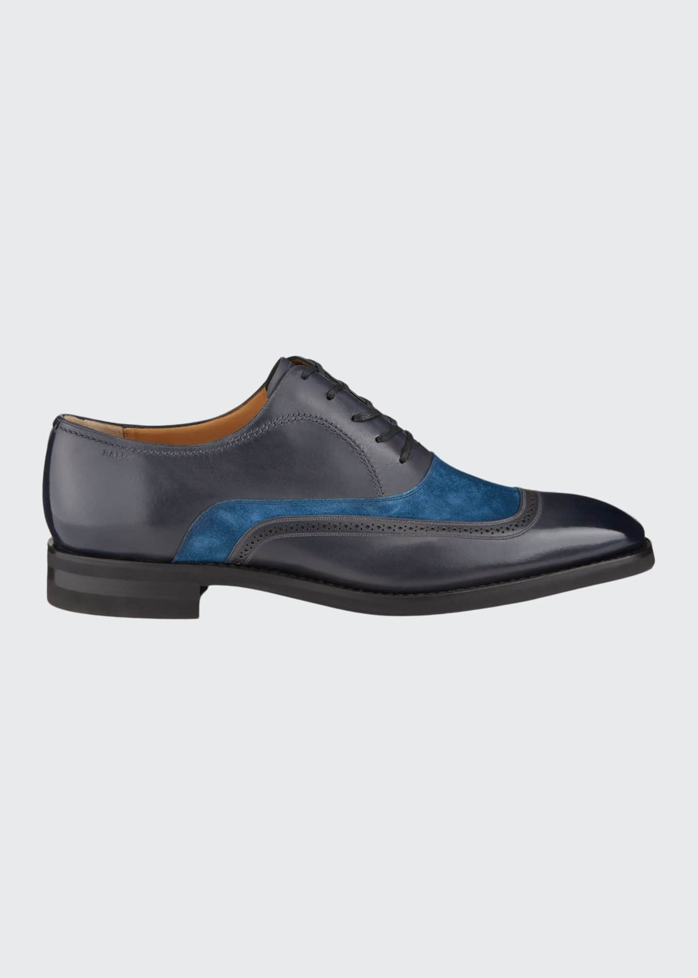Image 1 of 4: Men's Contrast-Suede Leather Dress Shoes