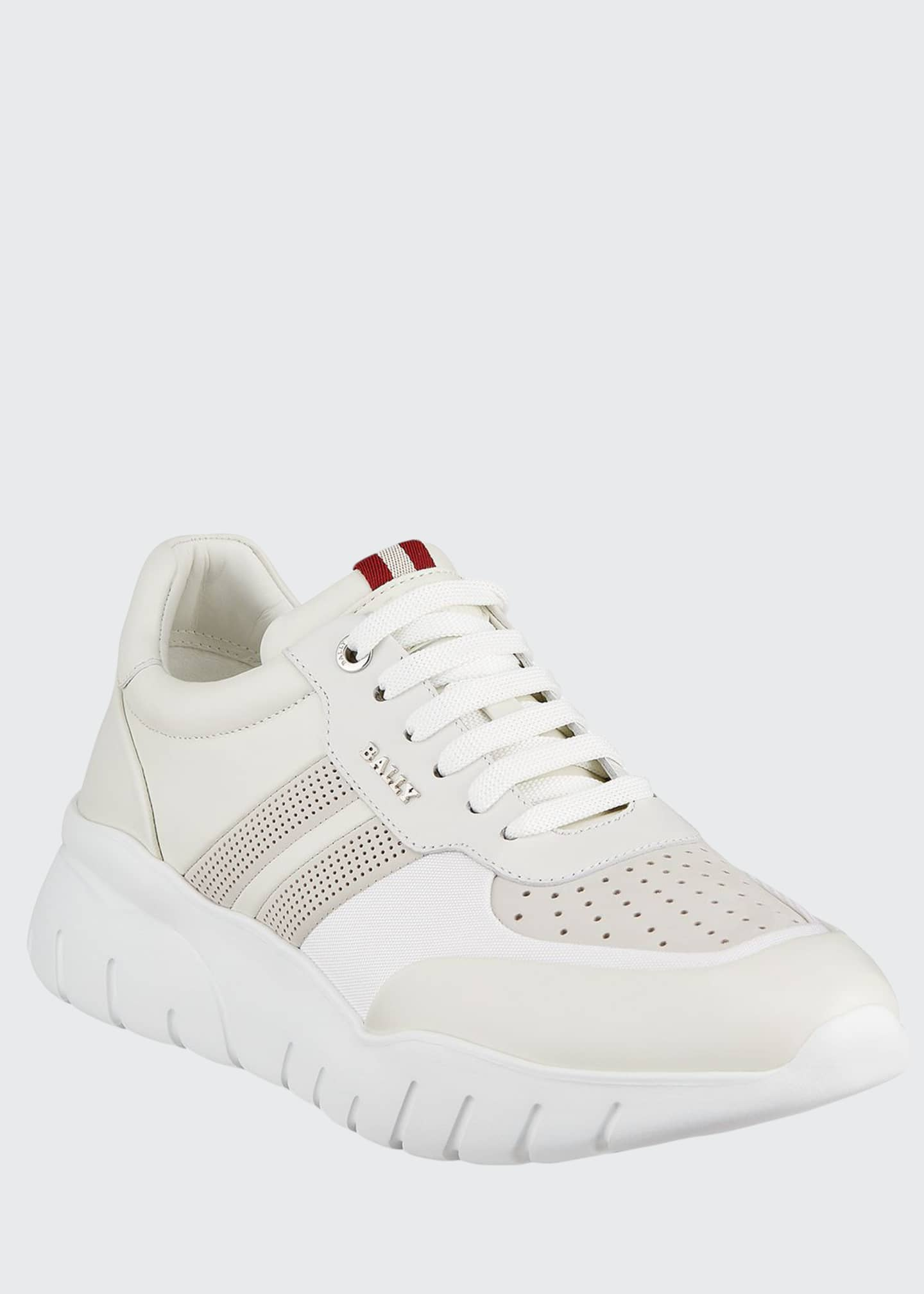 Image 1 of 4: Men's Bison Perforated Lamb Leather Sneakers