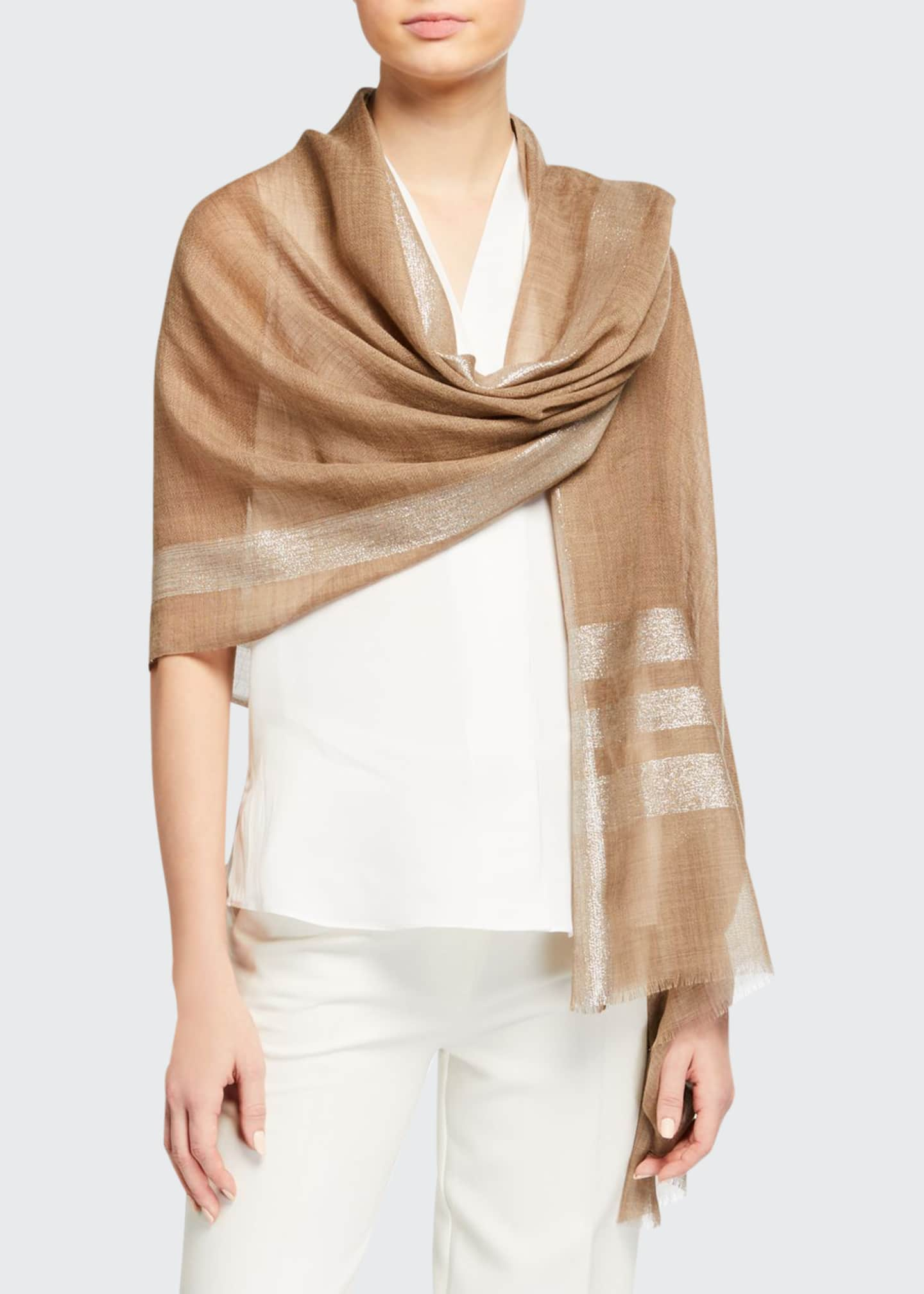 Image 1 of 2: Lurex Colorblock Wool-Blend Stole