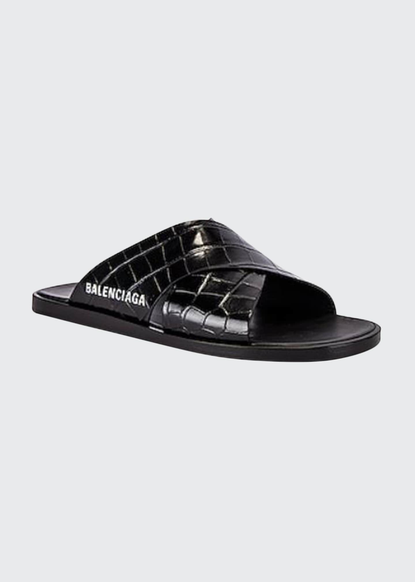 Image 1 of 1: Men's Cosy Croc-Embossed Calfskin Logo Slides