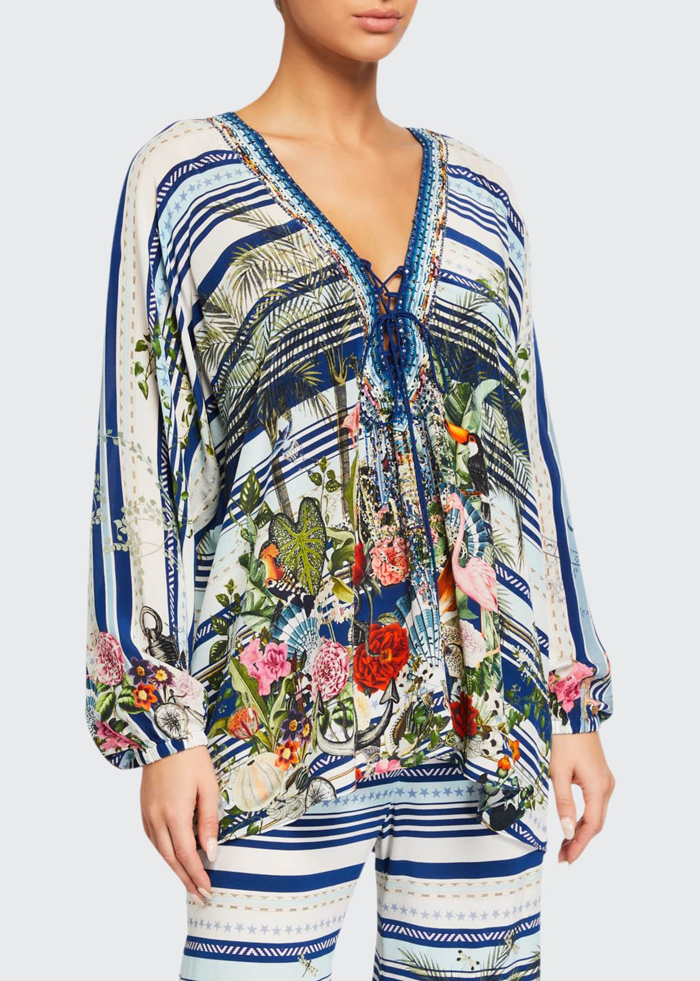 Image 1 of 3: Printed Lace-Up Silk Blouse