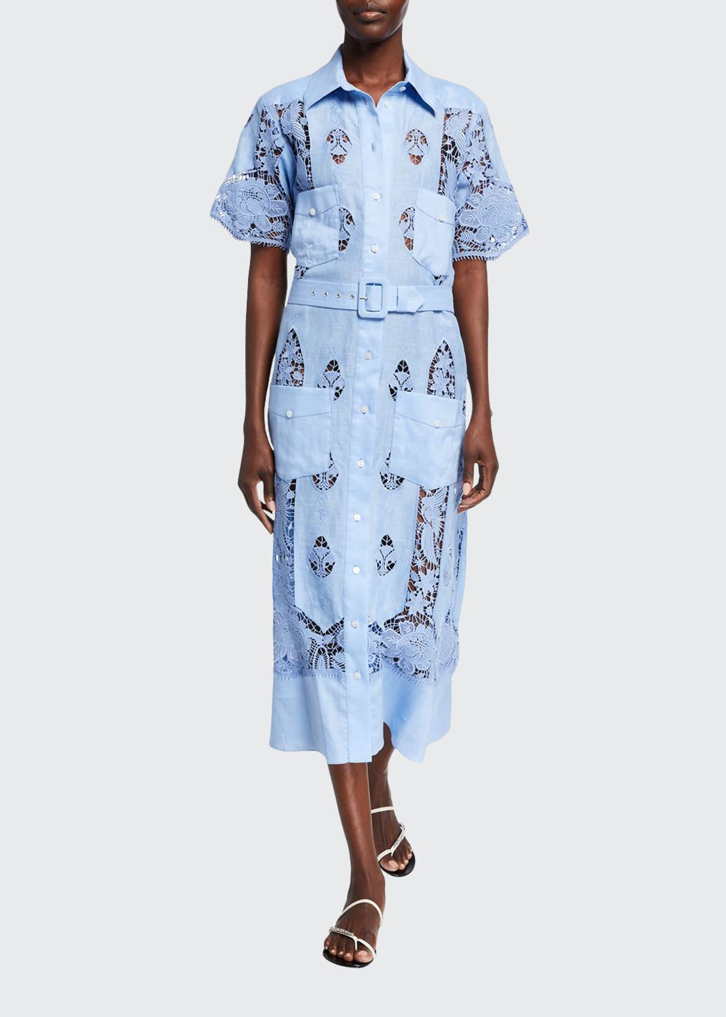 Image 1 of 2: Berly Linen Embroidered Shirt Dress