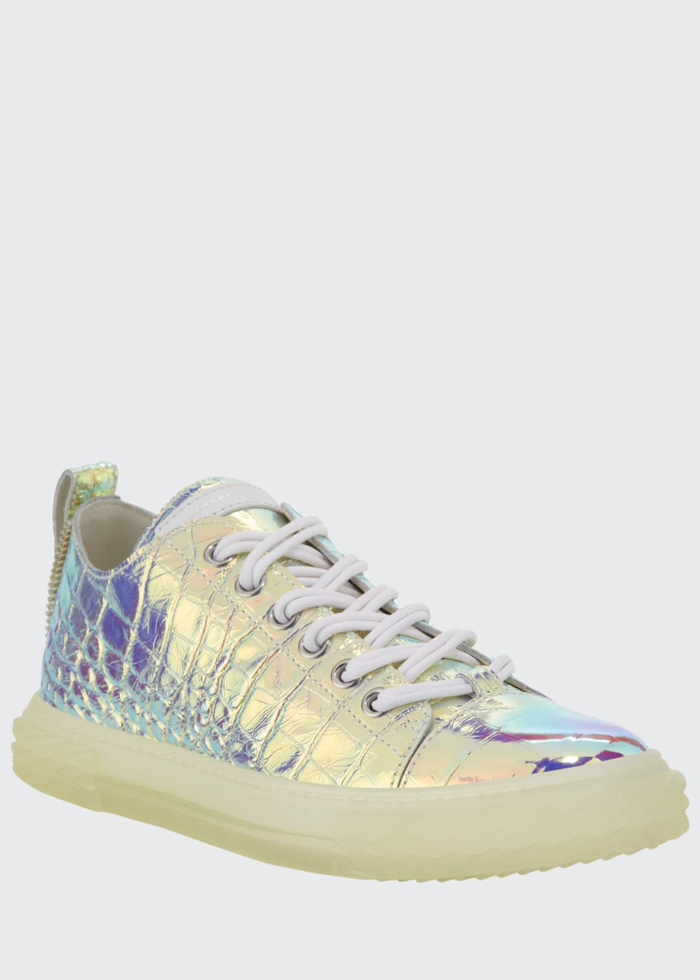 Image 1 of 4: Men's Iridescent Croc-Embossed Sneakers