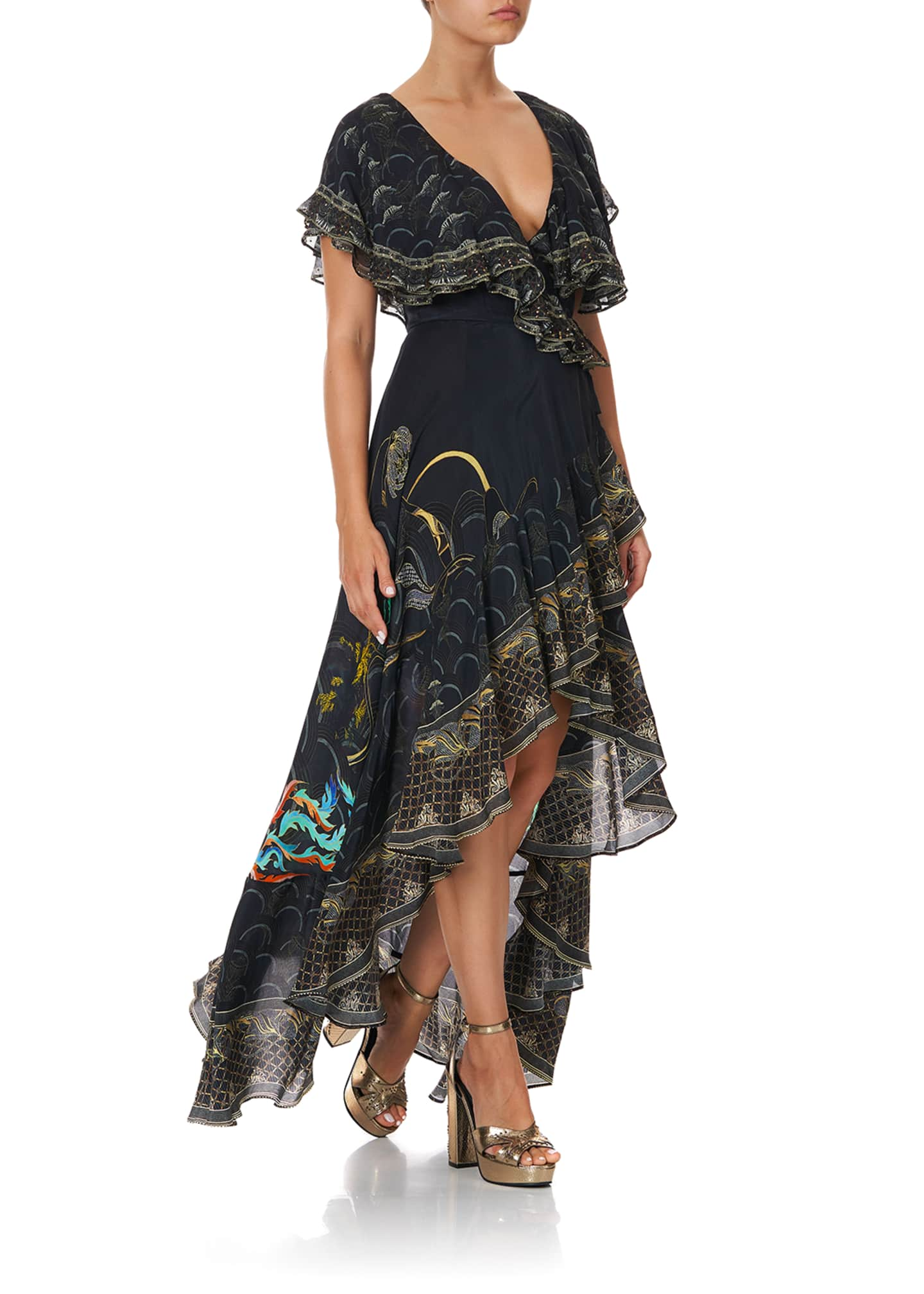 Camilla Frill-Sleeve Silk Maxi Dress