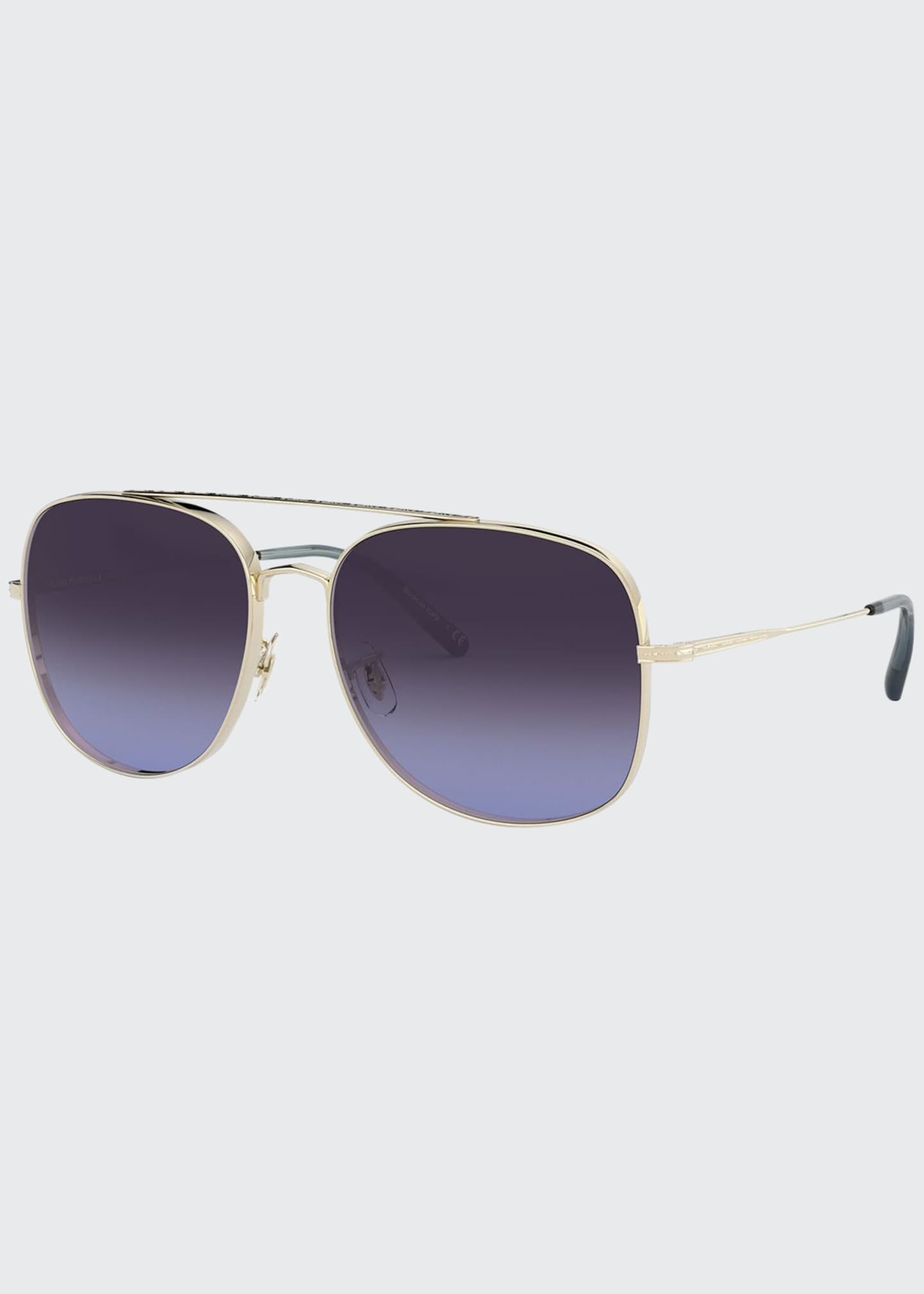 Image 1 of 2: Taron Square Aviator Metal Sunglasses