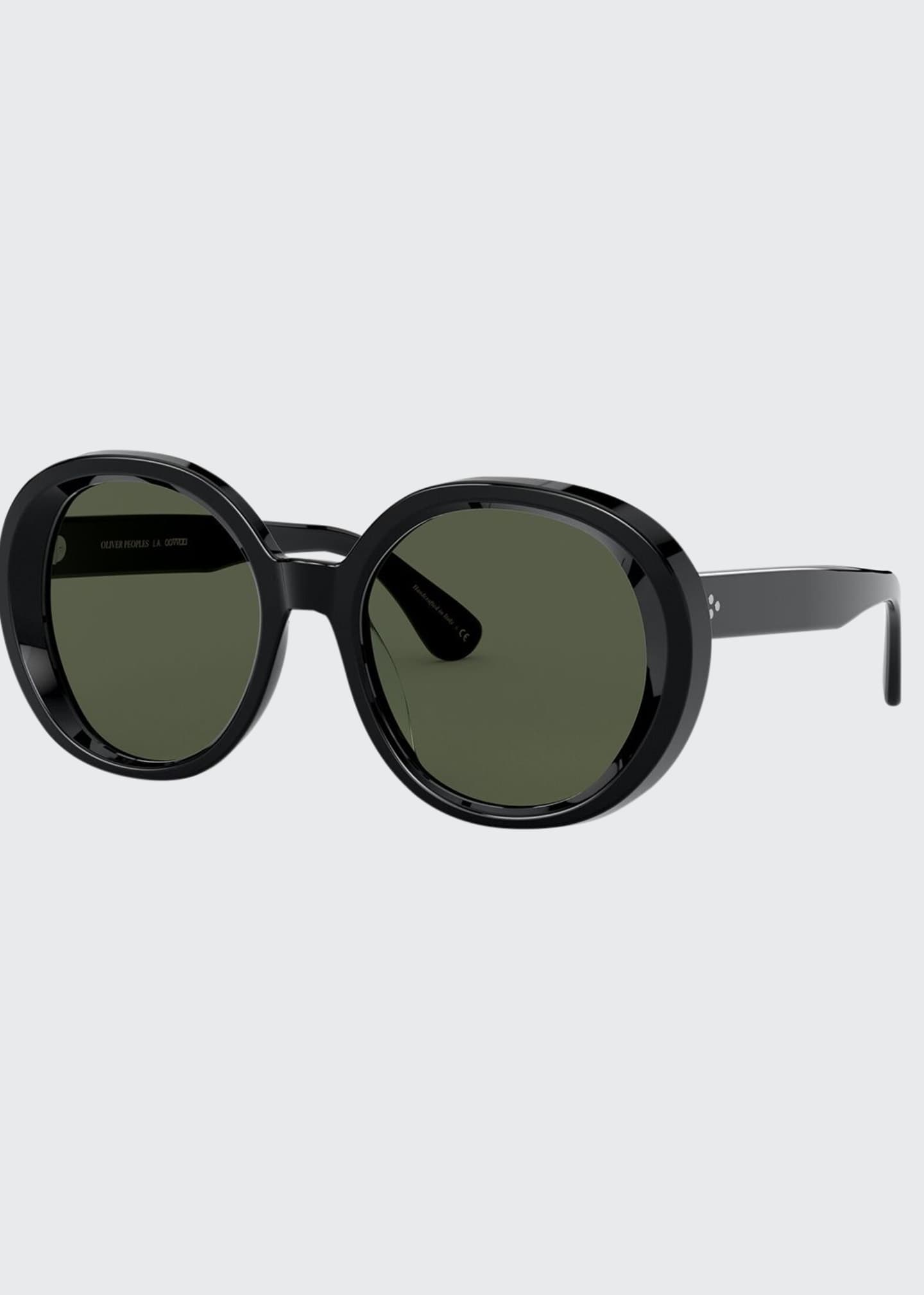 Image 1 of 2: Leidy Round Acetate Sunglasses