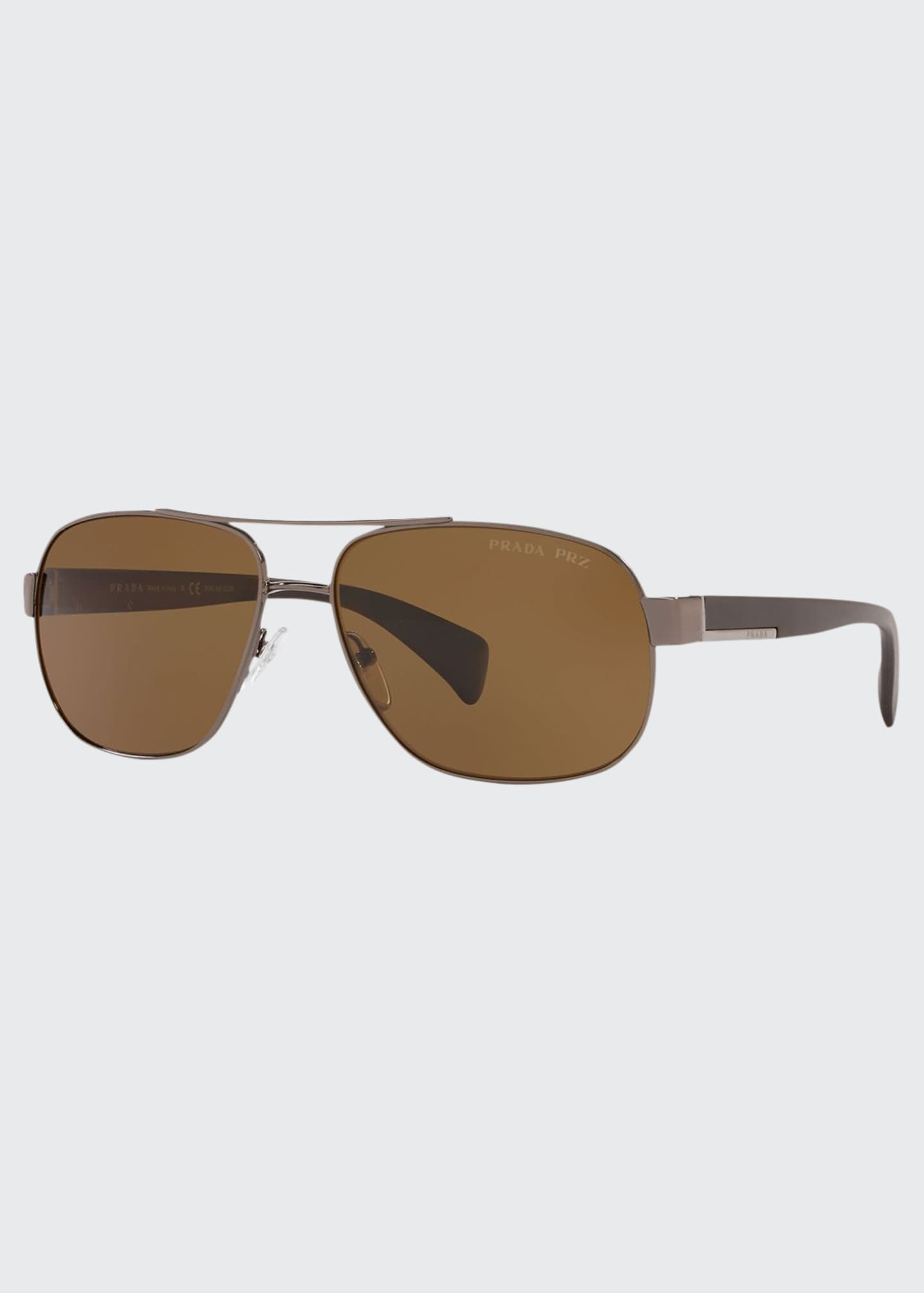 Prada Men's Polarized Metal Aviator Sunglasses