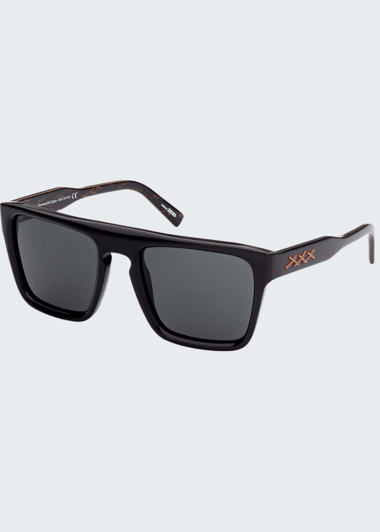 Image 1 of 1: Men's Square Acetate Sunglasses w/ Stitching