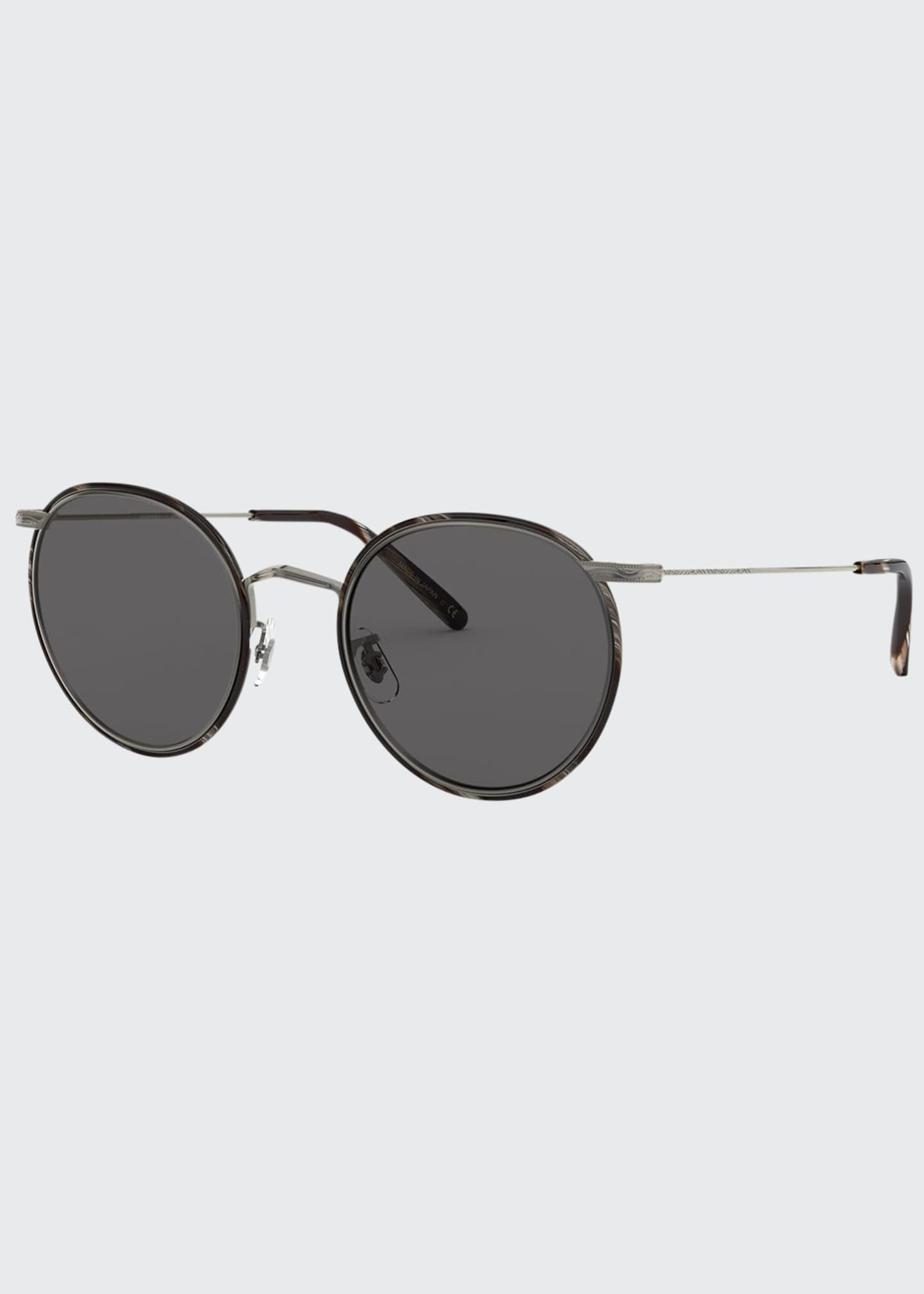 Image 1 of 2: Men's Casson Round Aviator Titanium Sunglasses
