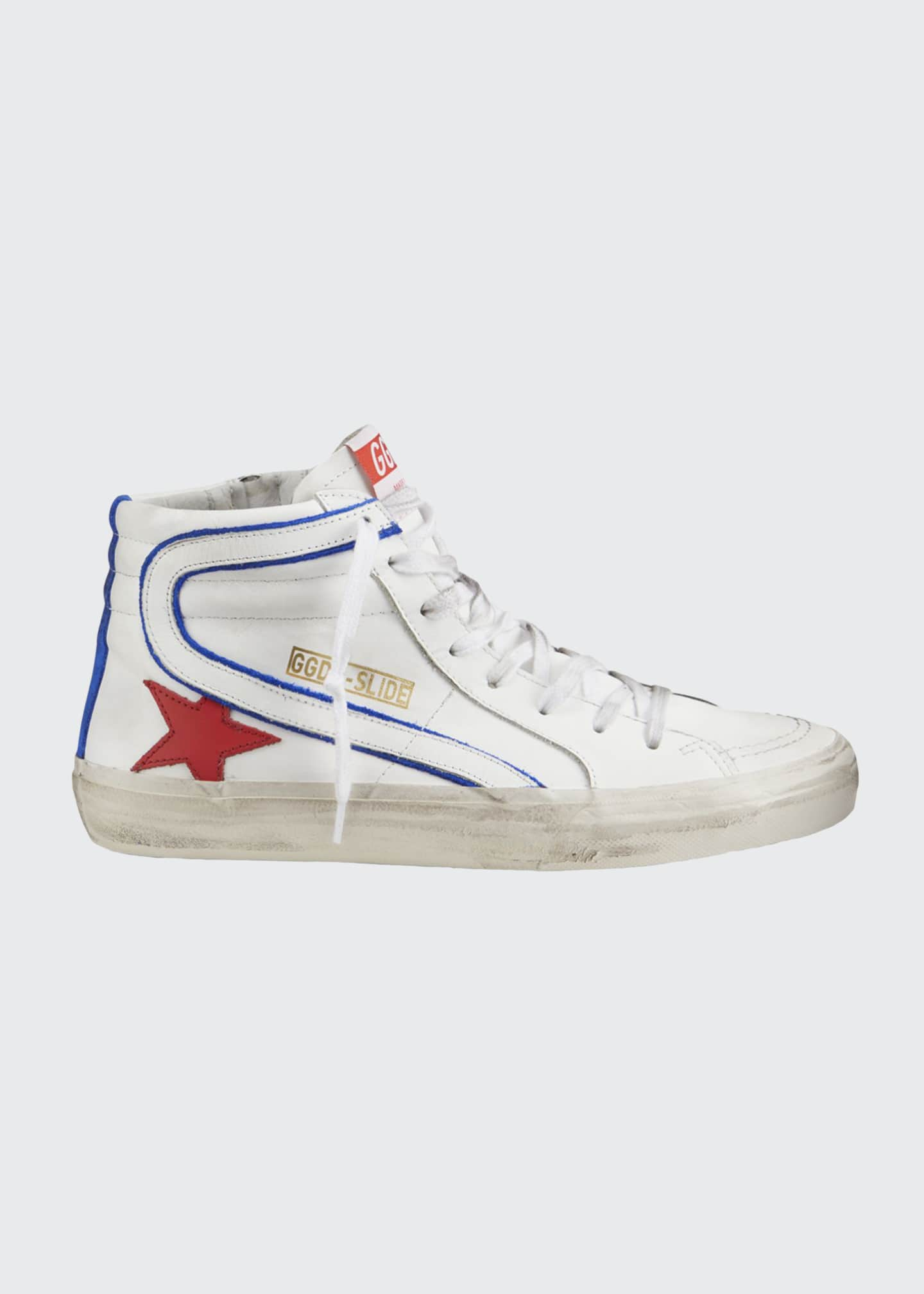 Image 1 of 4: Men's Slide Vintage Star Leather Mid-Top Sneakers