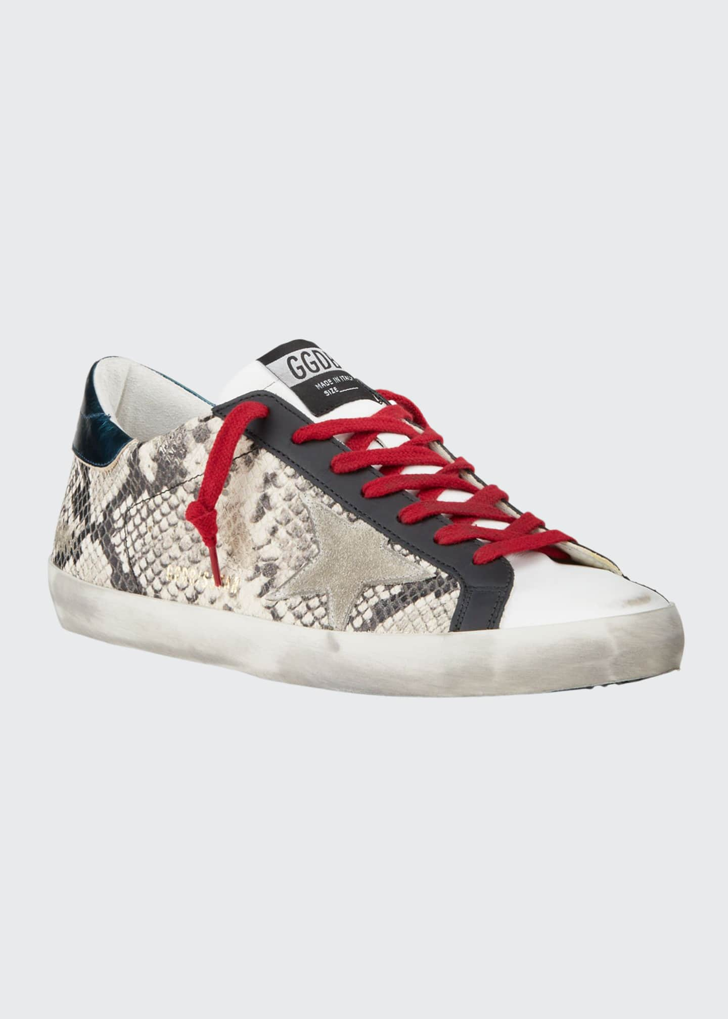 Image 1 of 4: Men's Superstar Vintage Snake-Print Leather Sneakers