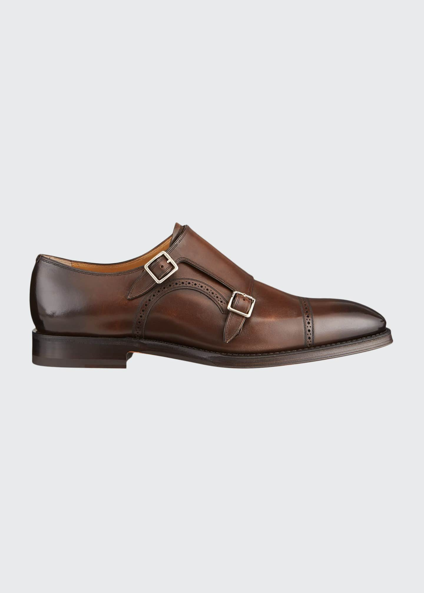 Image 1 of 4: Men's Scardino Scribe Leather Double-Monk Loafers