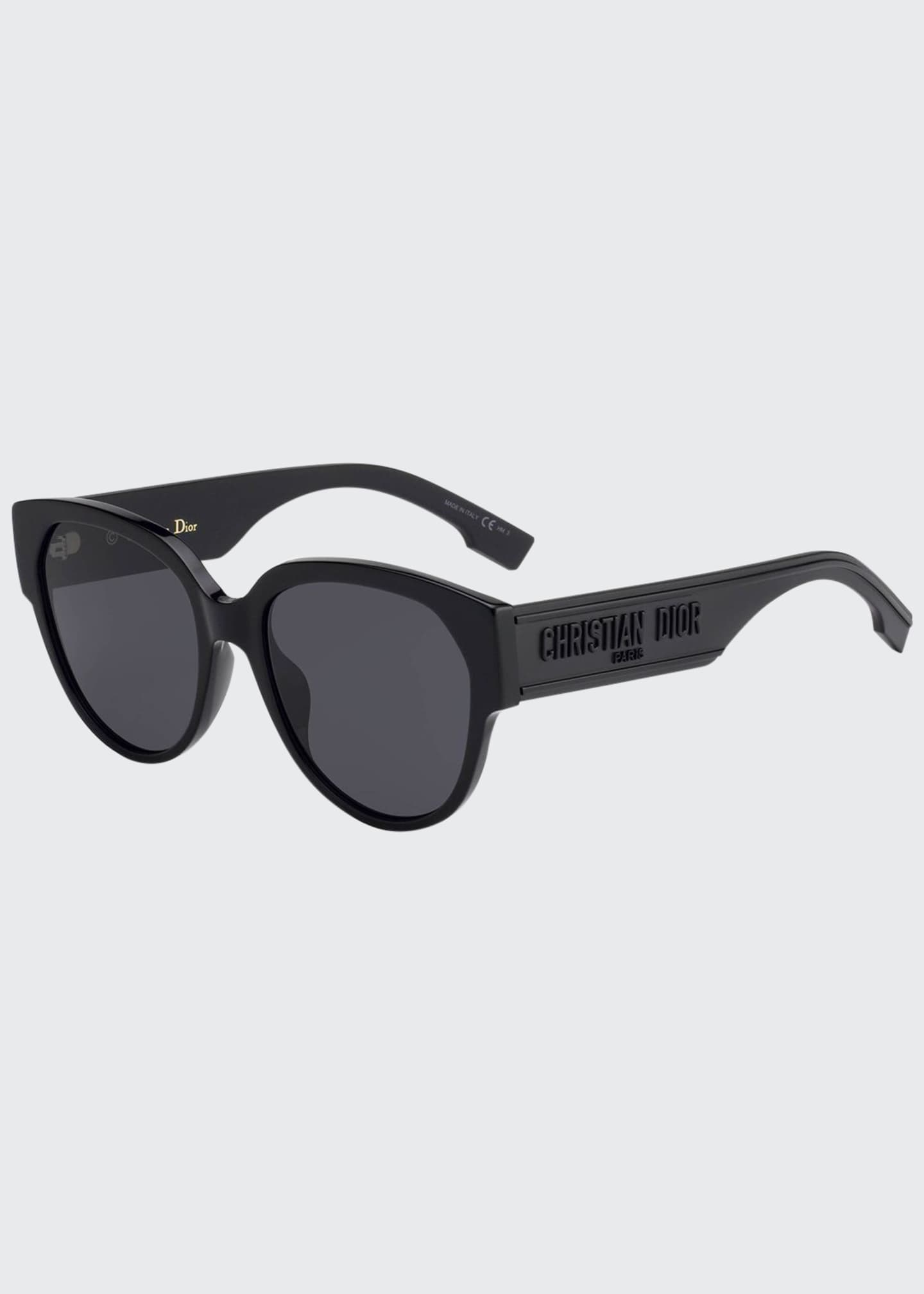 Image 1 of 1: DiorID2 Round Acetate Sunglasses w/ Logo Arms