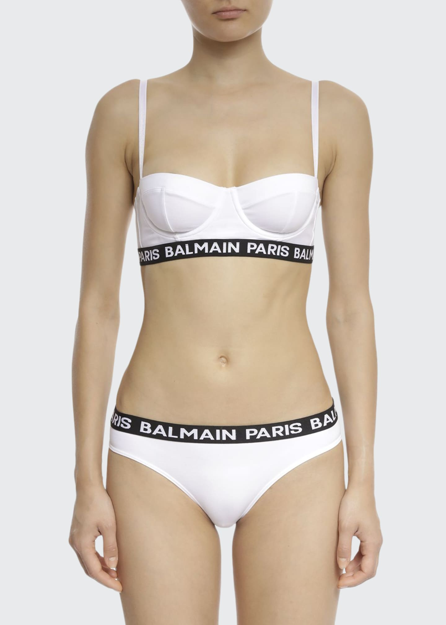 Image 1 of 2: Jersey Balconette Underwire Bra w/ Logo Elastic Band