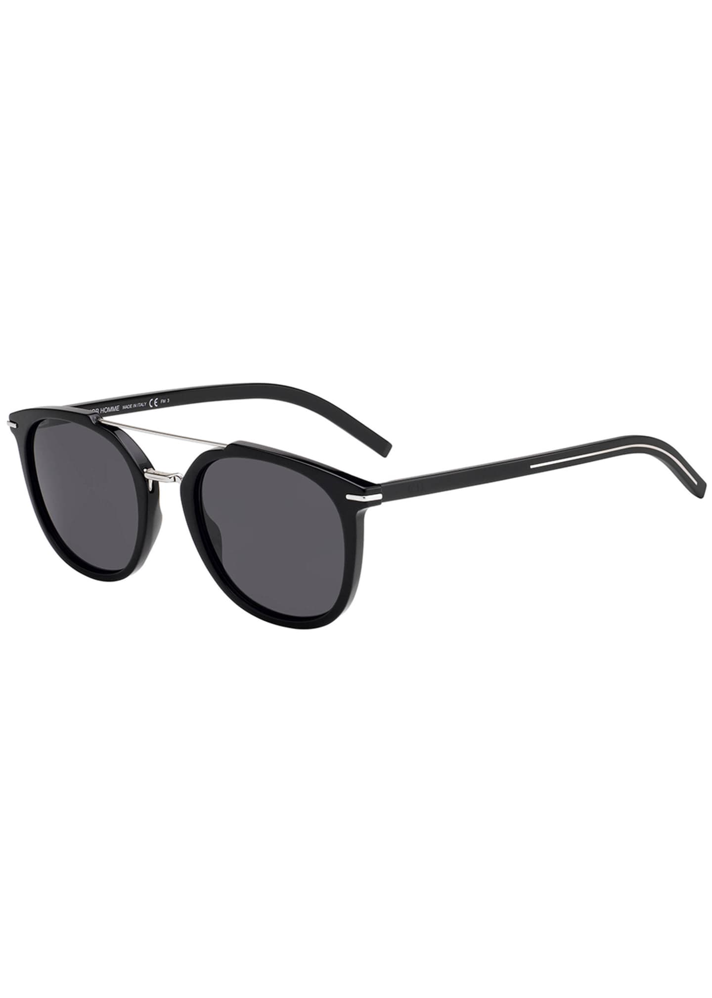 Image 1 of 1: Men's Blacktie Round Acetate/Metal Sunglasses