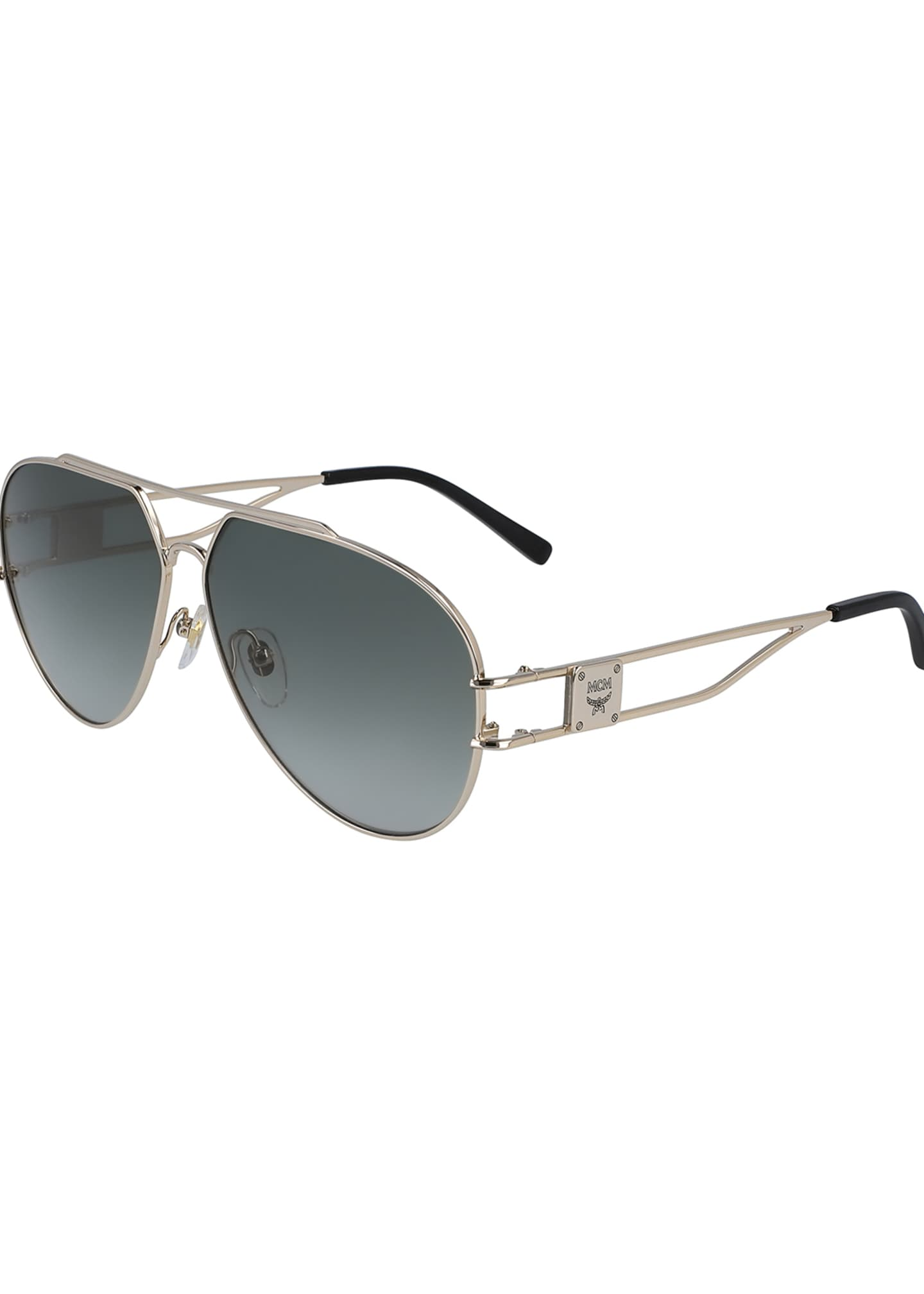 Image 1 of 1: Men's Metal Aviator Sunglasses w/ Logo Plaque