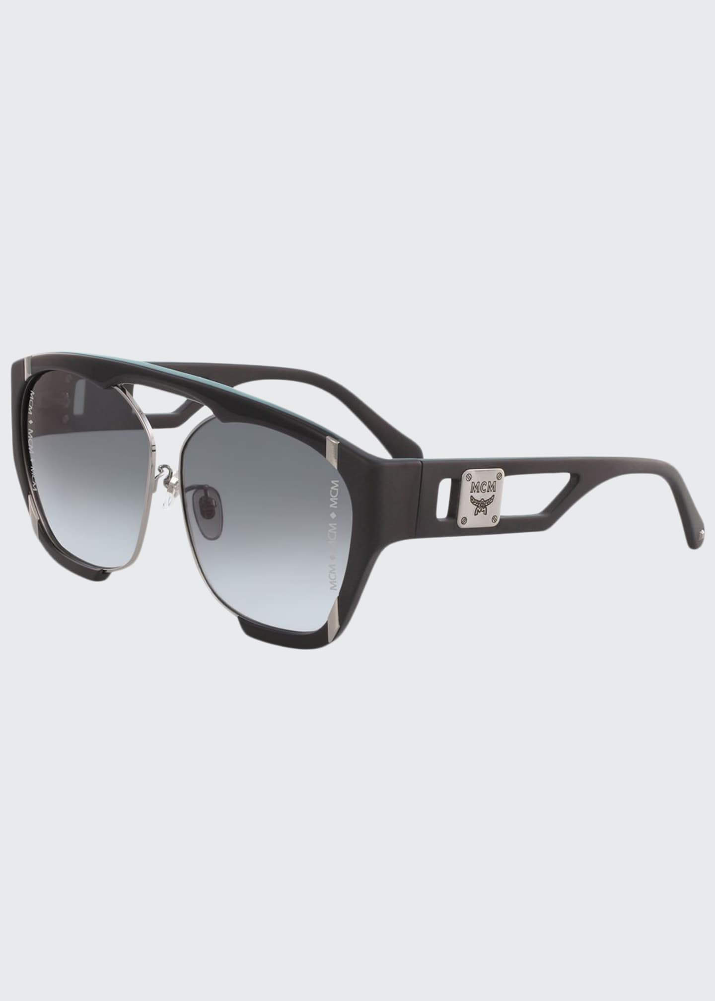 Image 1 of 1: Men's Gradient Cutout-Frame Aviator Sunglasses