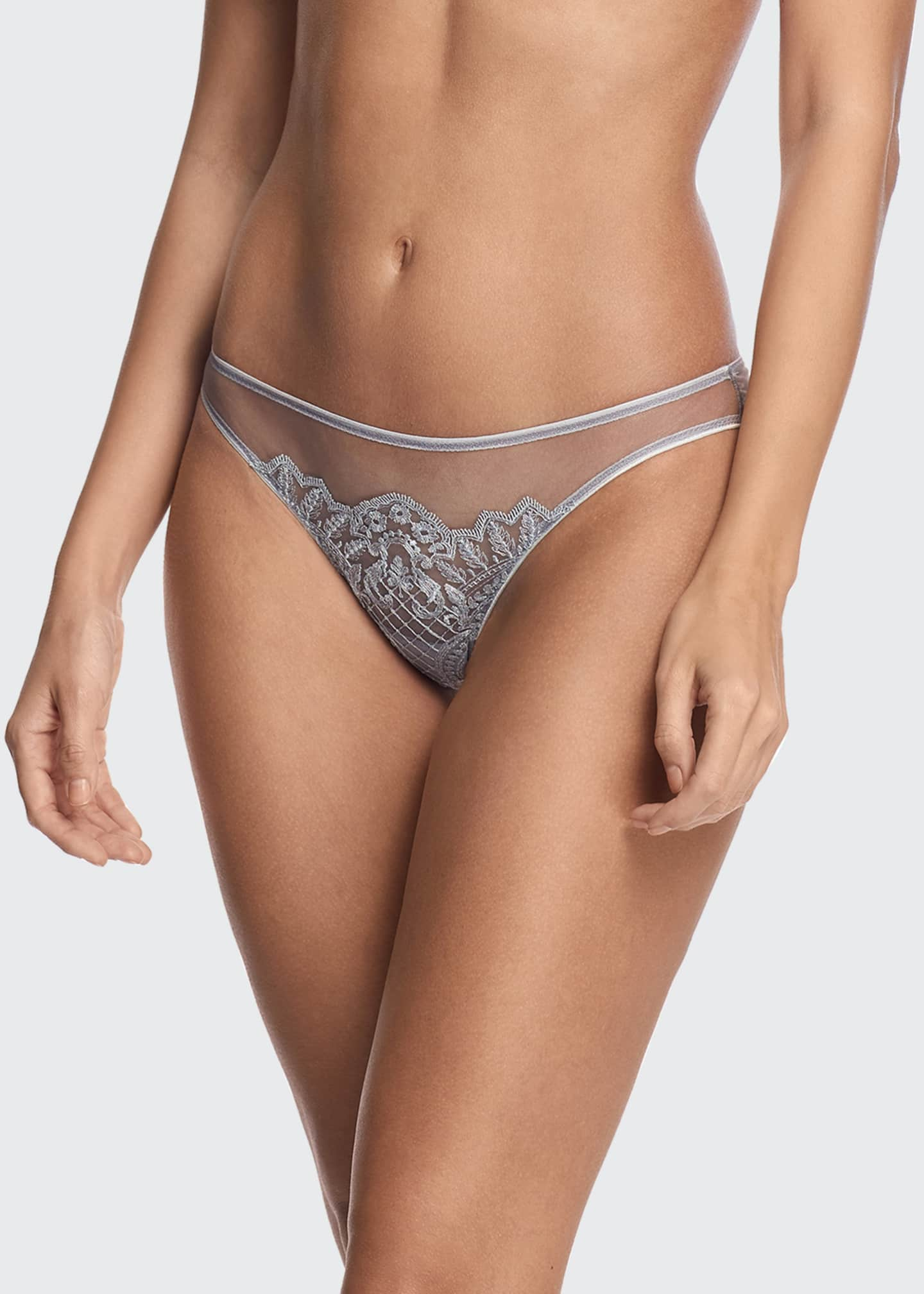 Image 1 of 2: Evening Goddess Embroidered Tulle Brazilian Brief