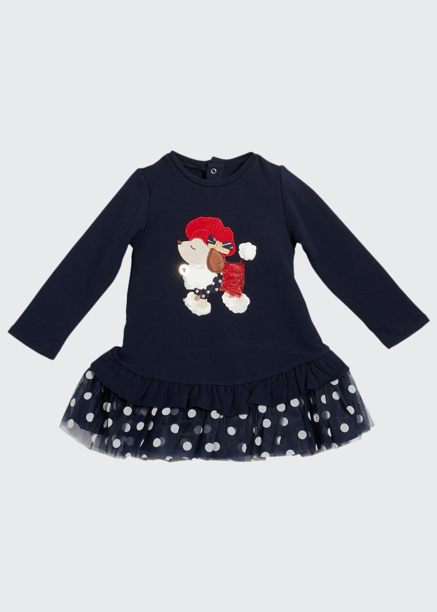 Image 1 of 1: Girl's Poodle Long-Sleeve Polka Dot Tulle Dress, Size 12-36M