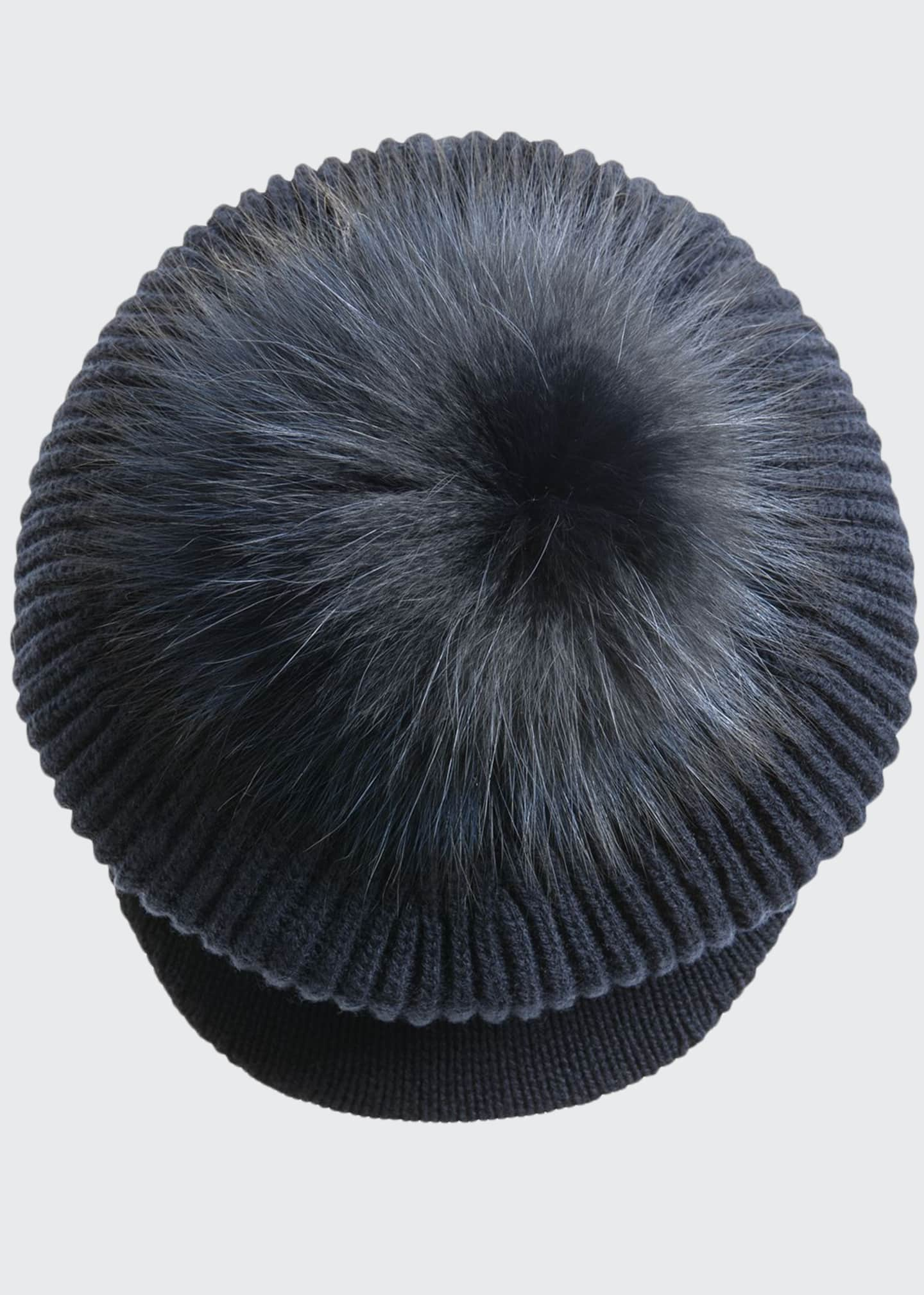 Image 1 of 3: Wool-Blend Slouchy Beanie with Visor & Fur Pompom, Navy
