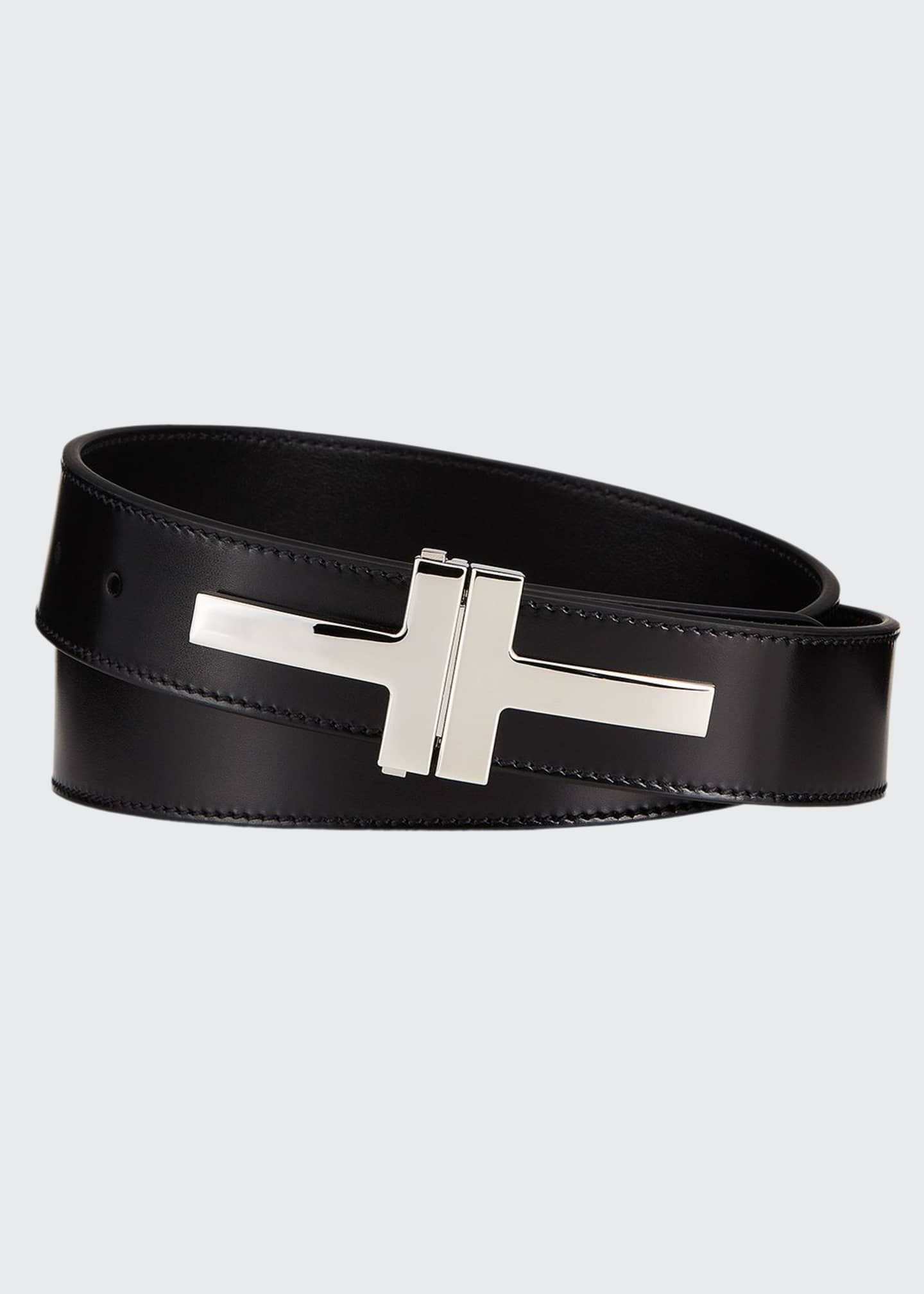 Image 1 of 1: Men's Double T Leather Belt