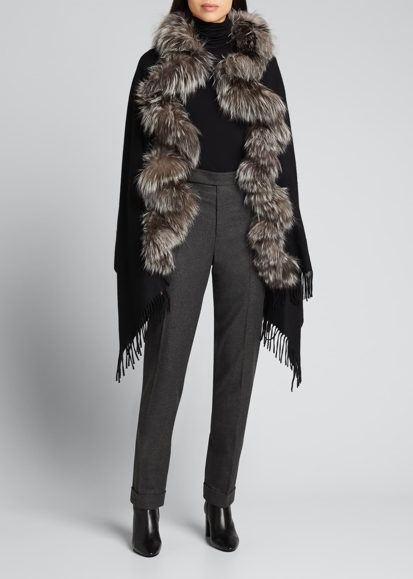 Image 1 of 3: Cashmere Stole With Silver Fox Fur Ruffle