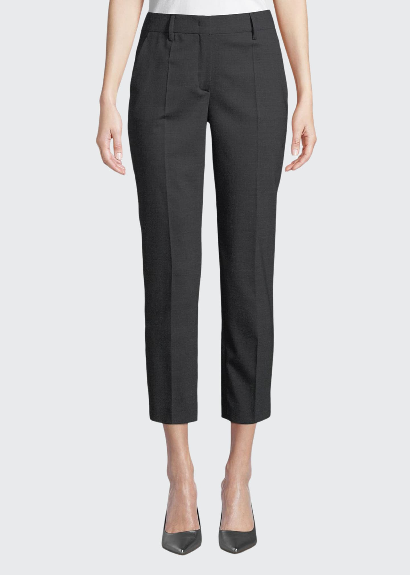 Image 1 of 3: Straight-Leg Cropped Stretch-Wool Pants