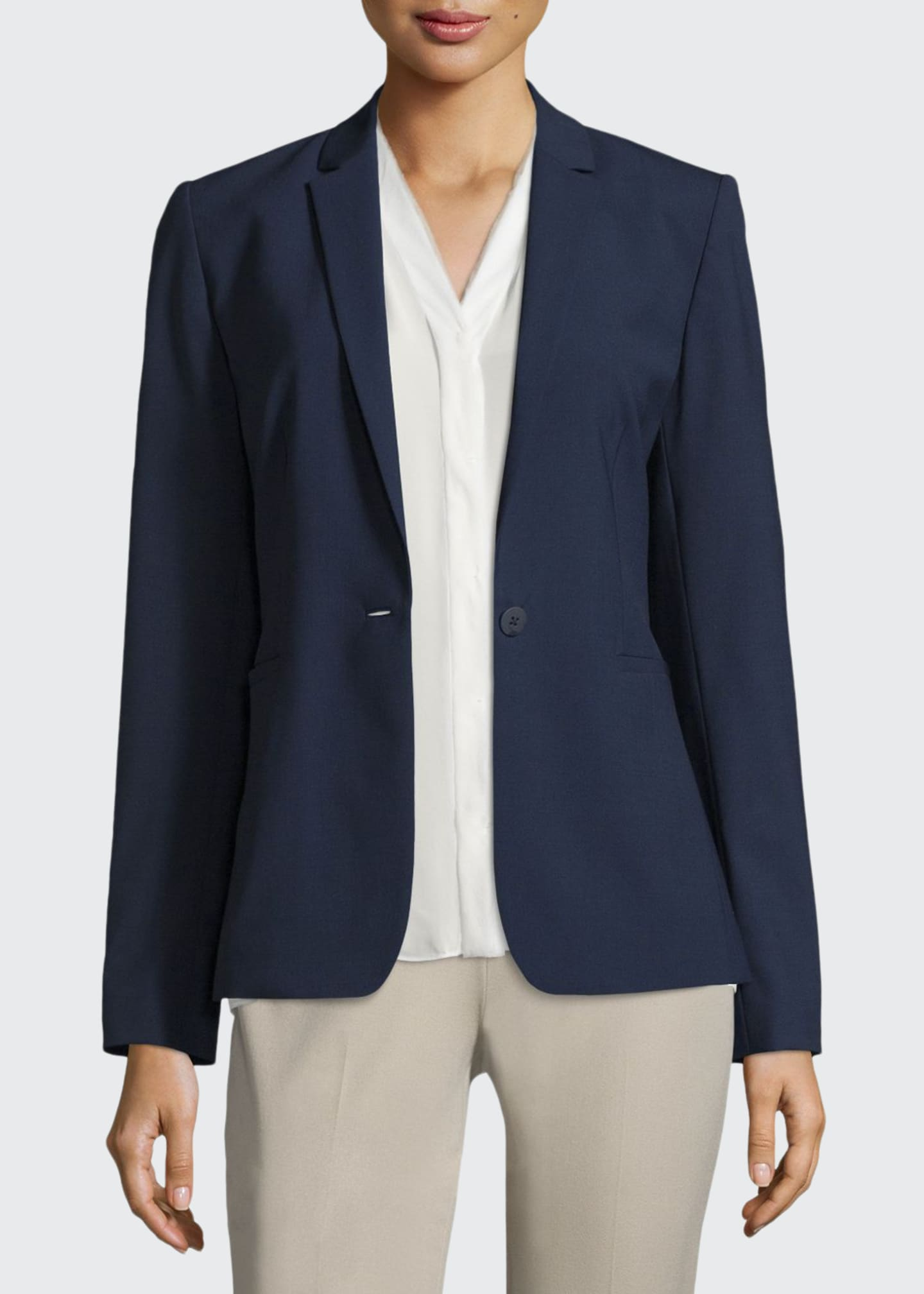 Image 1 of 3: Darcy One-Button Stretch-Wool Jacket