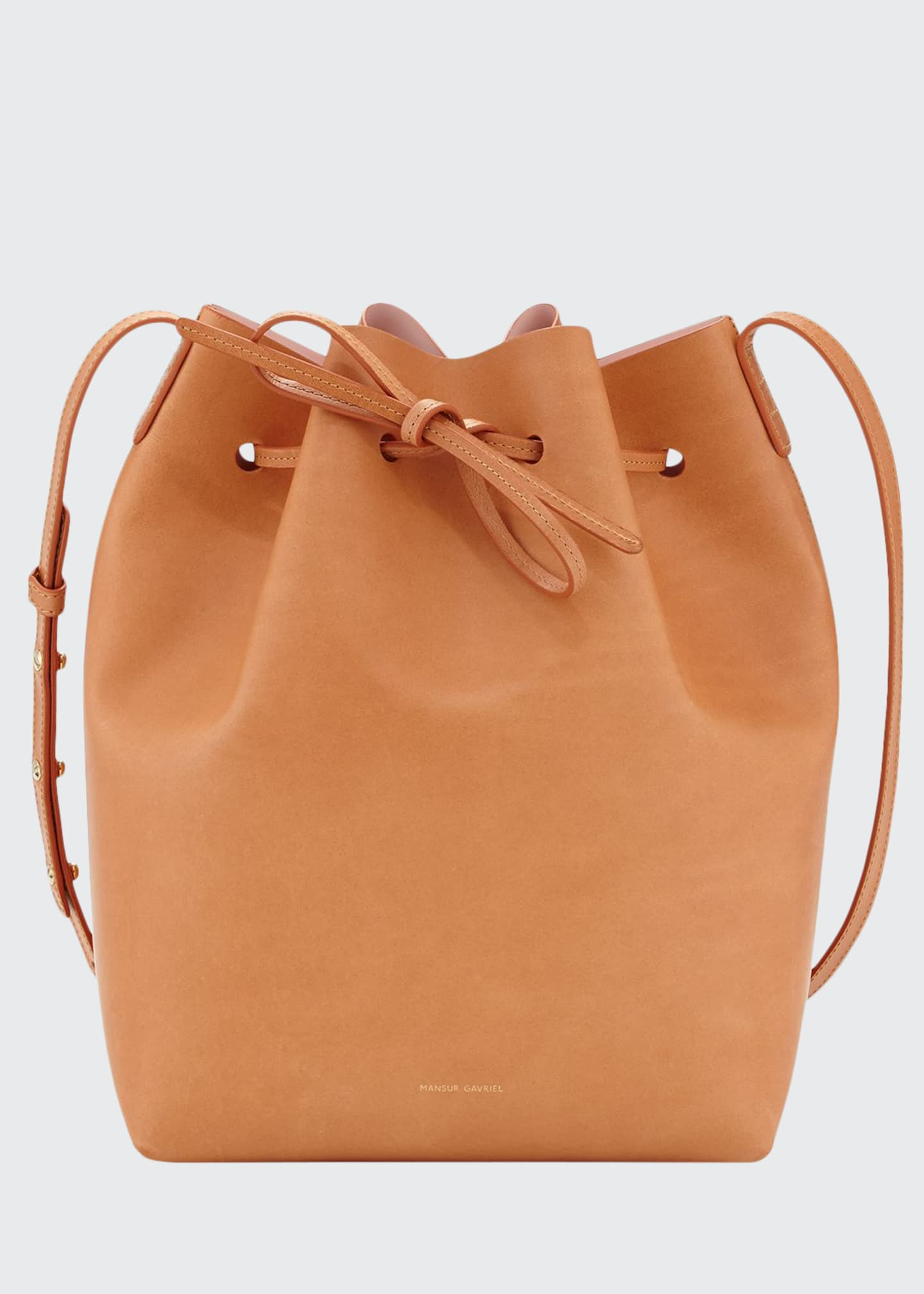 Image 1 of 3: Vegetable-Tanned Leather Bucket Bag