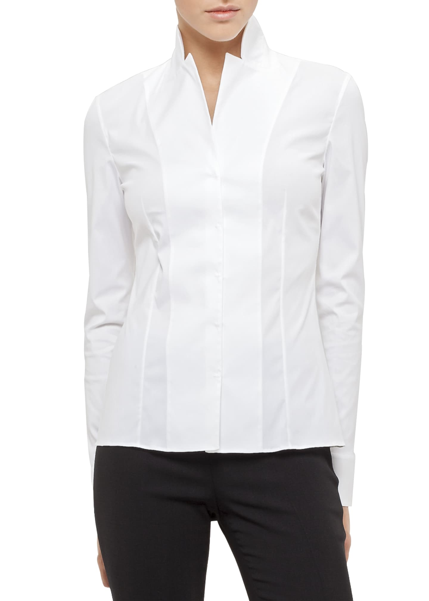 Image 1 of 3: Long-Sleeve Notched-Collar Poplin Blouse