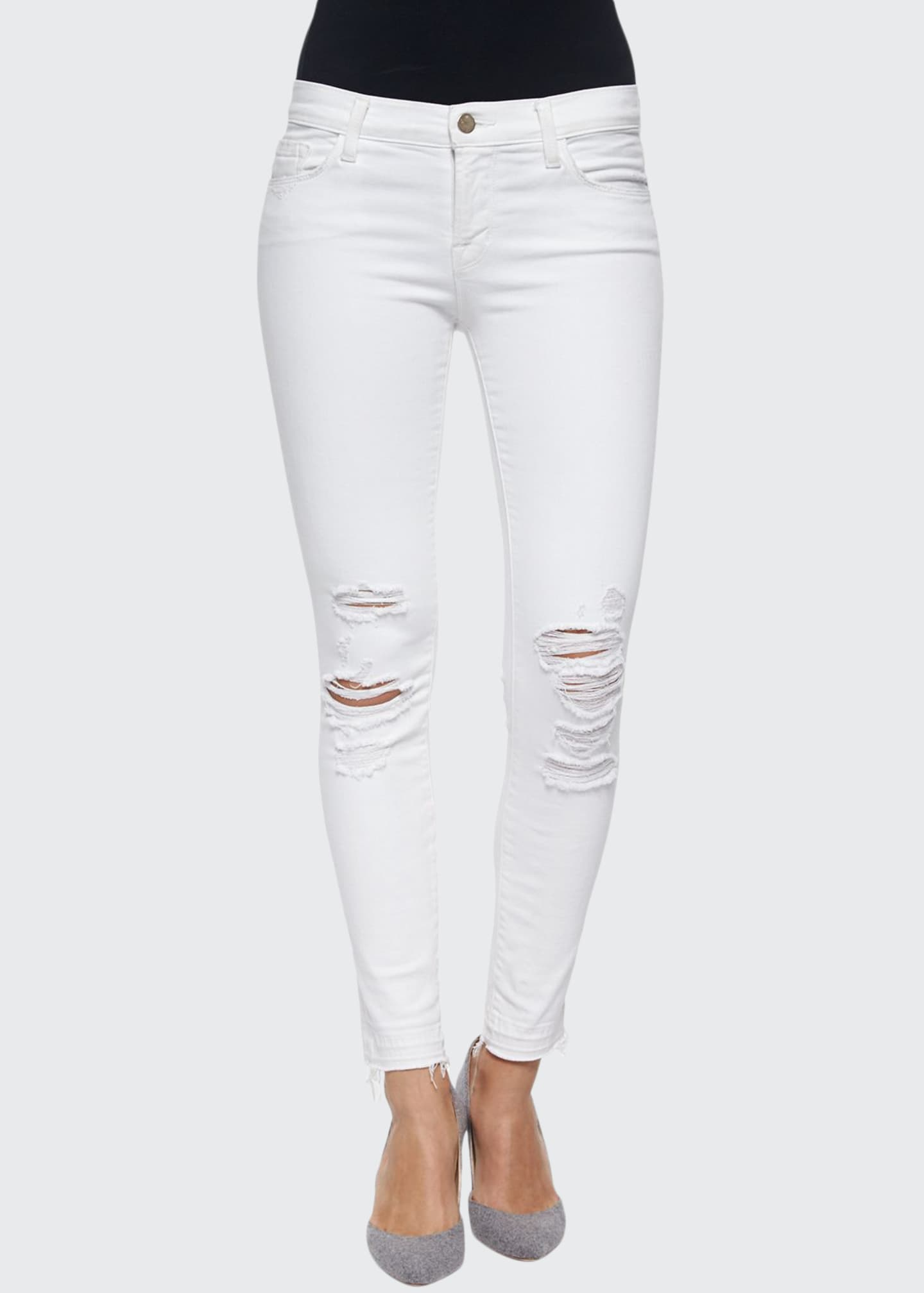 J Brand Low-Rise Skinny Crop Jeans, Demented, White
