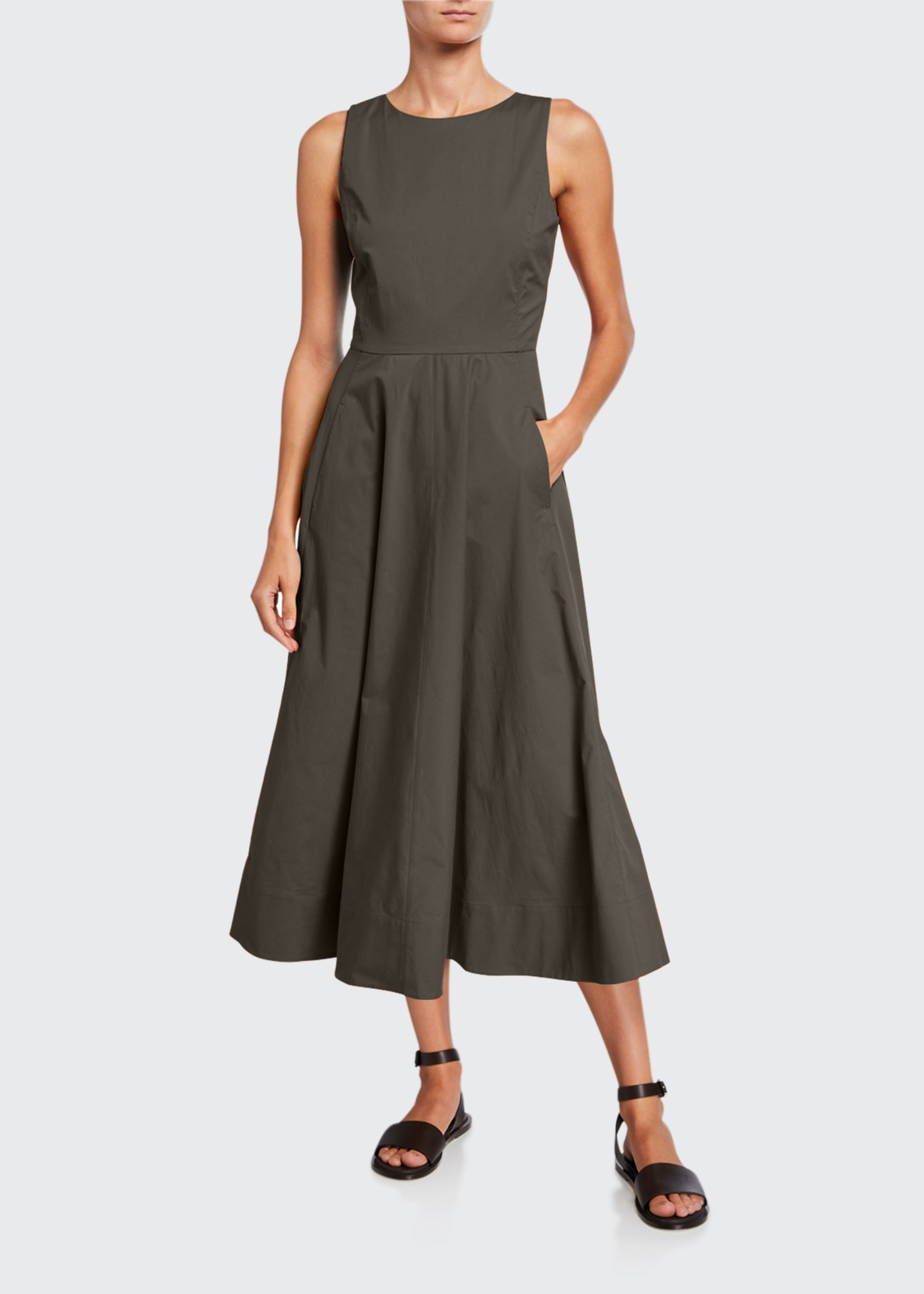 Loro Piana NANCY SLEEVELESS POPLIN A-LINE DRESS