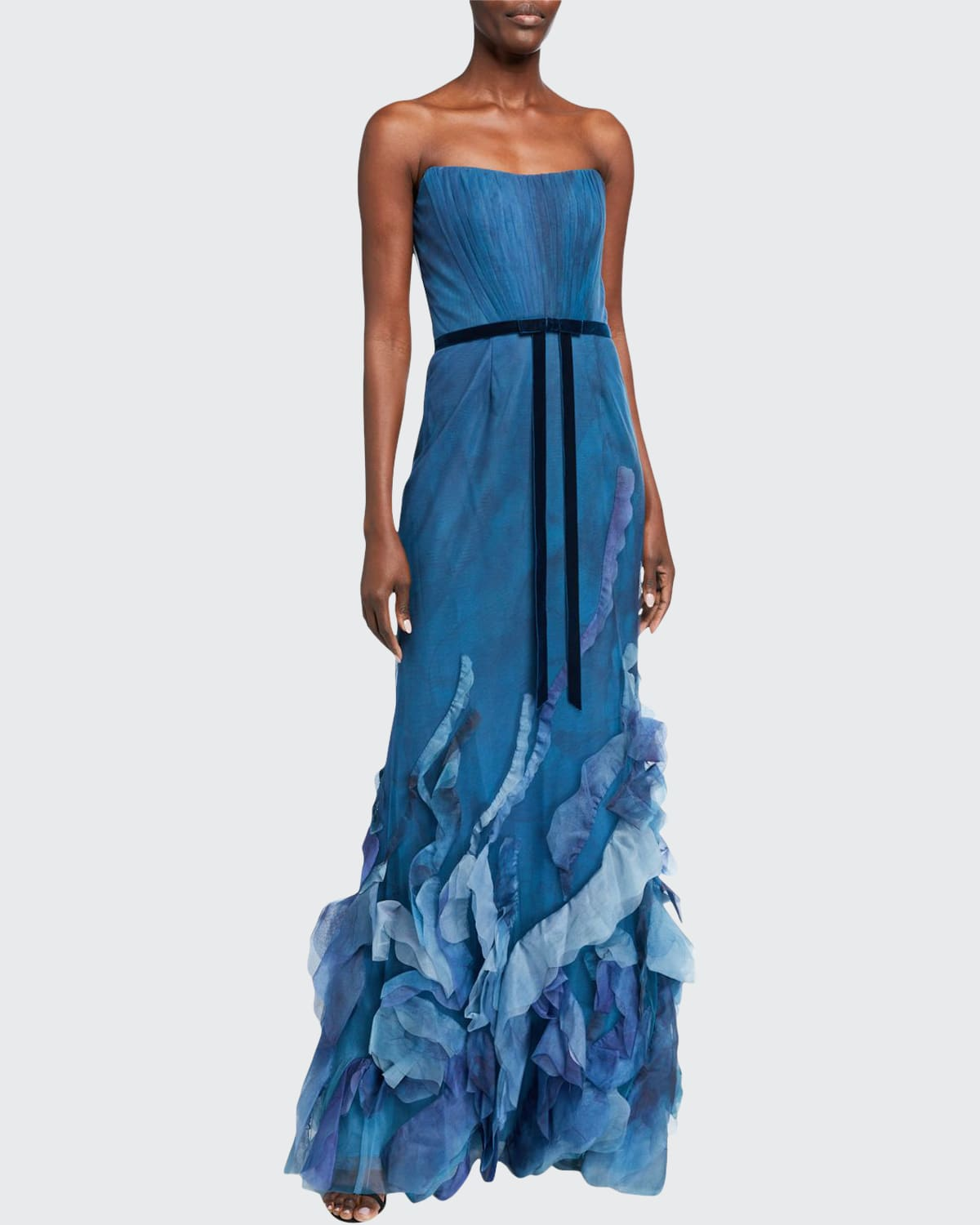 MARCHESA NOTTE Linings STRAPLESS PRINTED TULLE TEXTURED GOWN