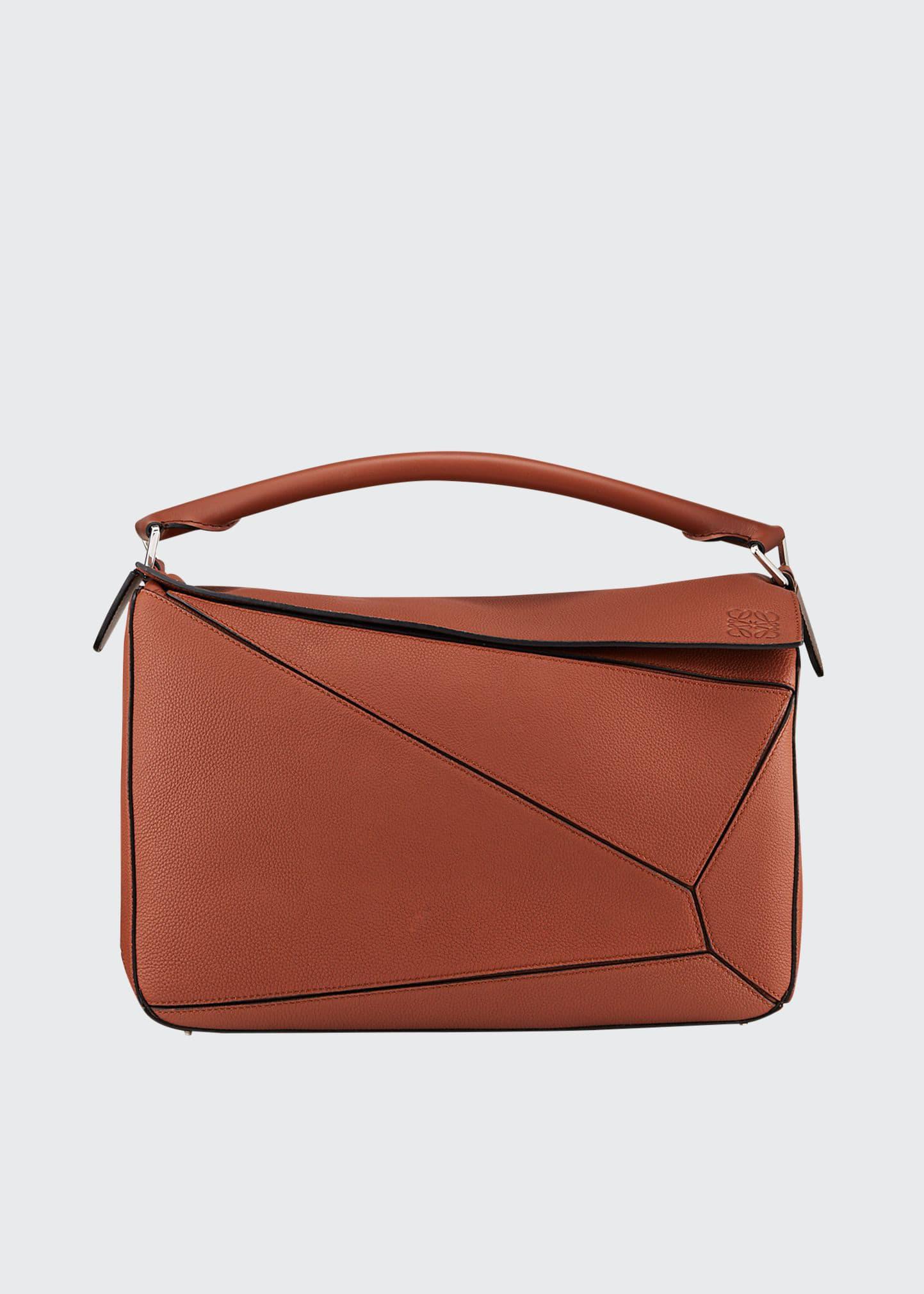 Loewe Men's Puzzle Leather Crossbody/shoulder Bag In Brown