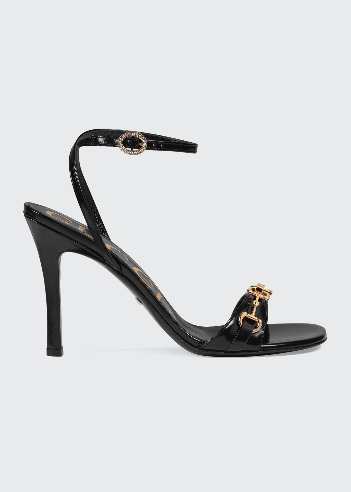 Gucci High heels MOOREA LEATHER SANDALS WITH HORSEBIT