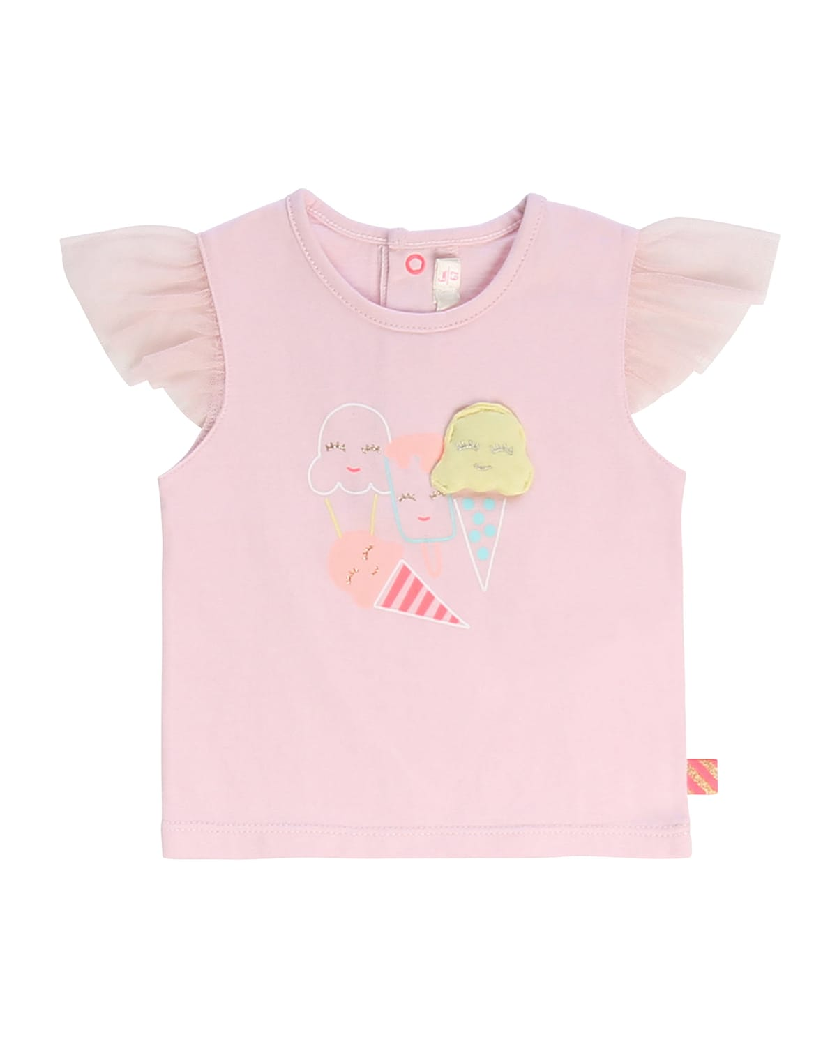 Billieblush Cottons GIRL'S TULLE-SLEEVE ICE CREAM GRAPHIC T-SHIRT