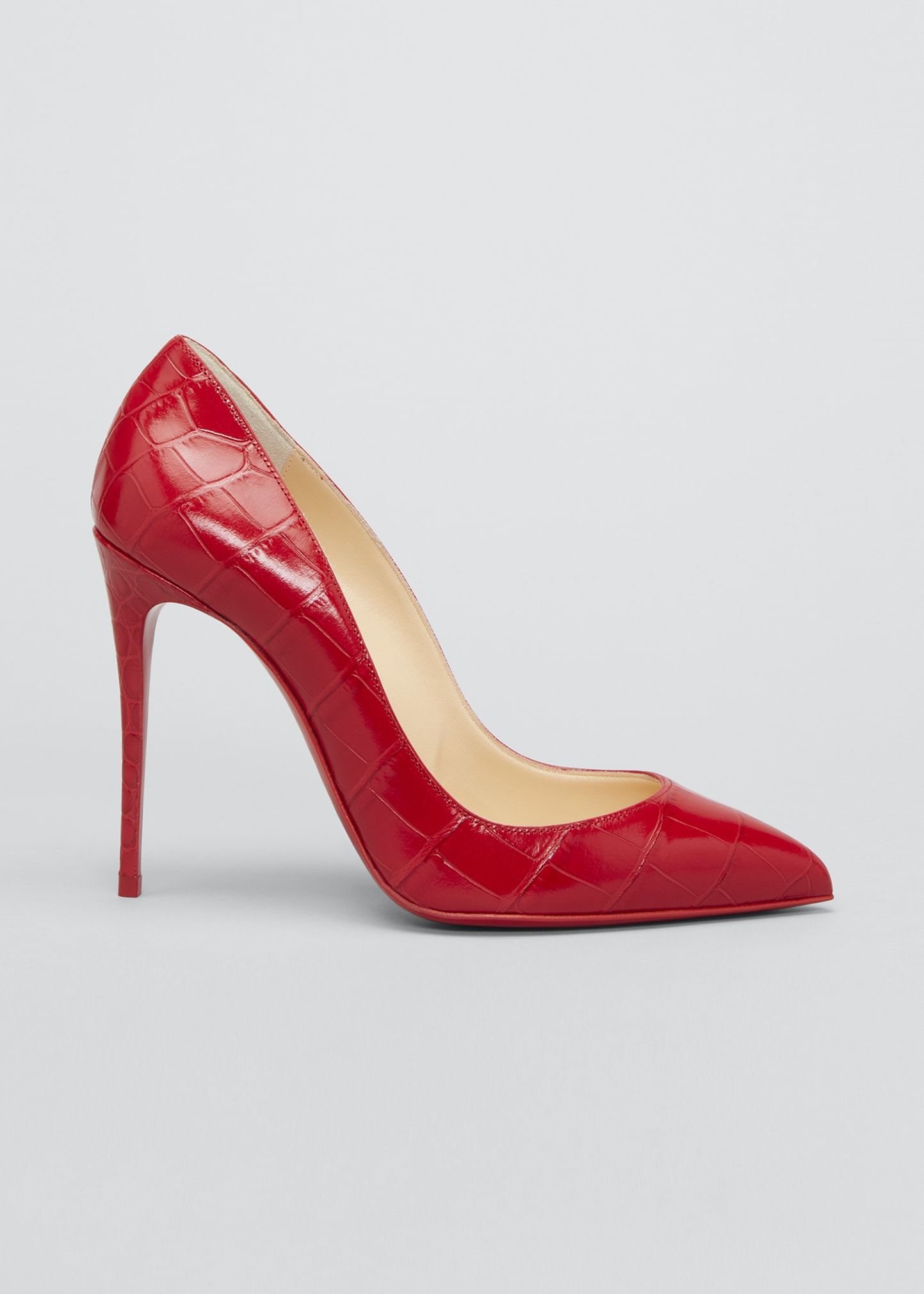 Pigalle Follies Mock-Croc 100mm Red Sole Pumps